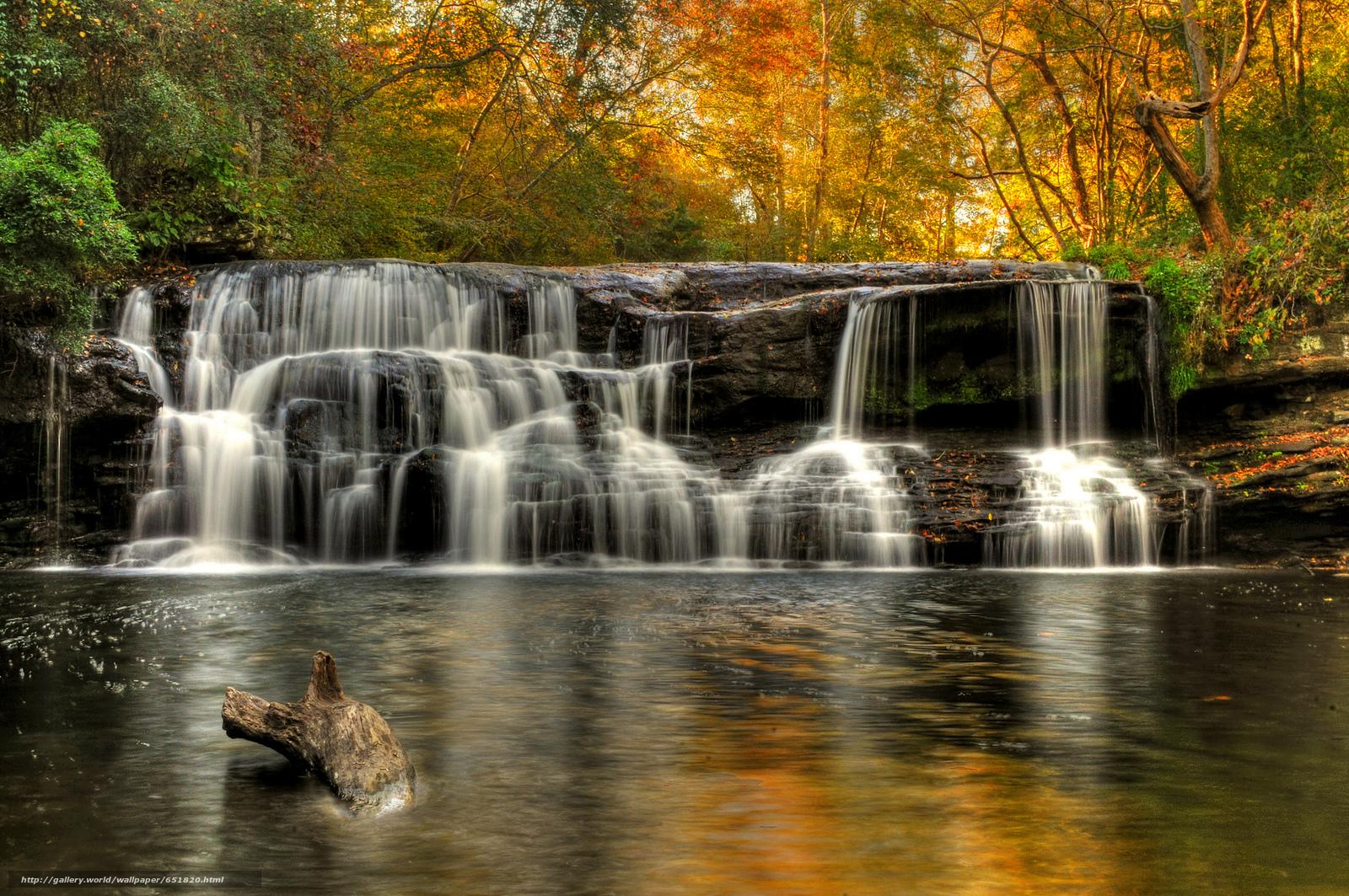 Скачать обои водопад,  скалы,  река,  лес бесплатно для рабочего стола в разрешении 2048x1360 — картинка №651820
