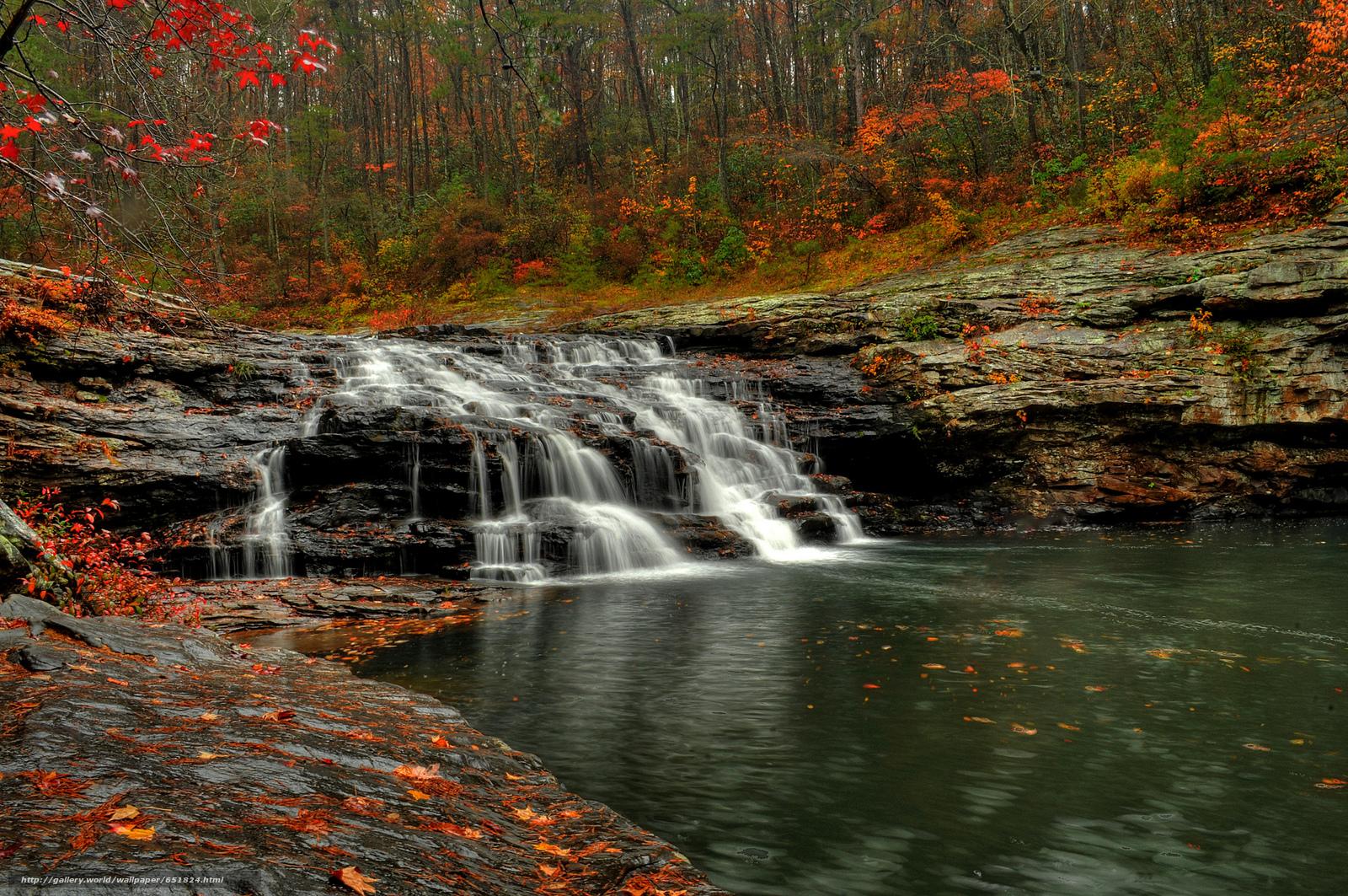 Download Hintergrund Wasserfall,  Rocks,  Fluss,  Wald Freie desktop Tapeten in der Auflosung 2048x1361 — bild №651824