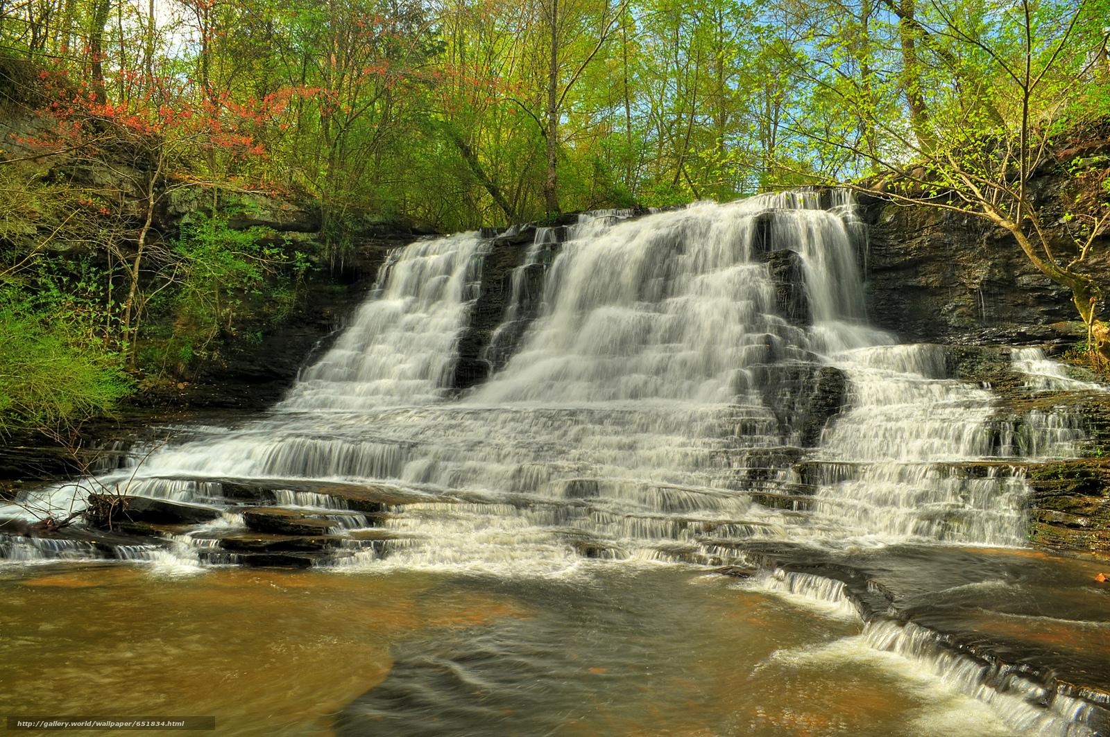 Скачать обои водопад,  скалы,  река,  лес бесплатно для рабочего стола в разрешении 2048x1360 — картинка №651834