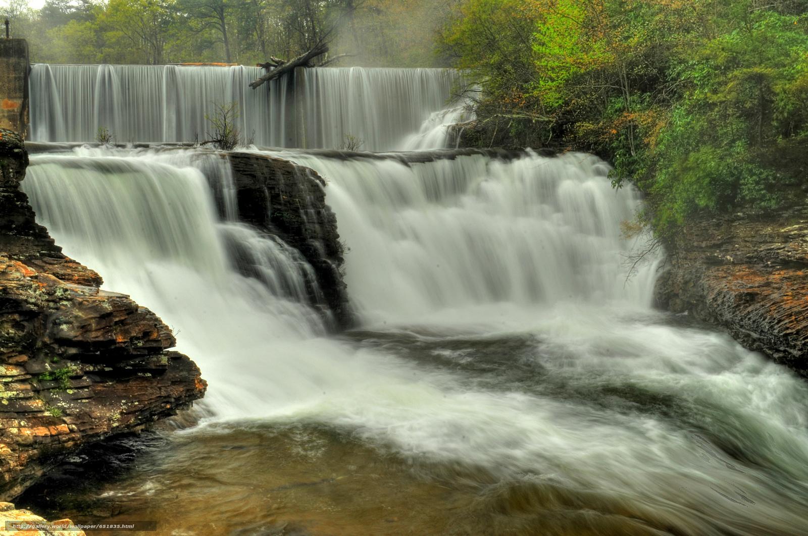Скачать обои водопад,  скалы,  река,  лес бесплатно для рабочего стола в разрешении 2048x1359 — картинка №651835