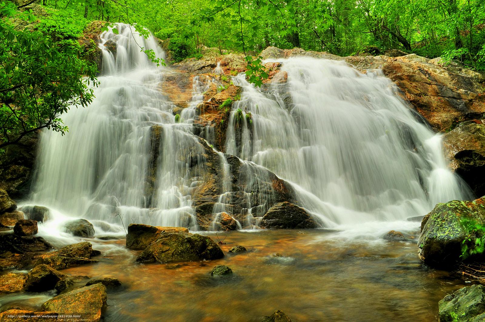 Скачать обои водопад,  скалы,  река,  лес бесплатно для рабочего стола в разрешении 2048x1361 — картинка №651838