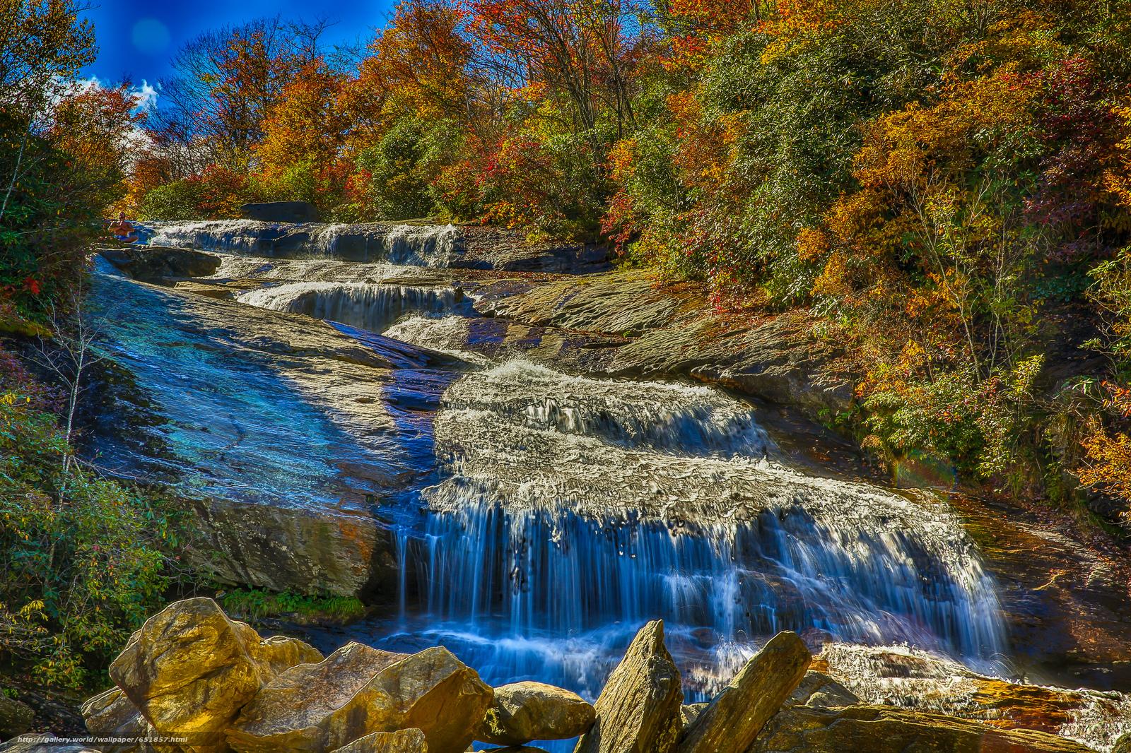 Download Hintergrund Wasserfall,  Rocks,  Fluss,  Wald Freie desktop Tapeten in der Auflosung 2048x1365 — bild №651857