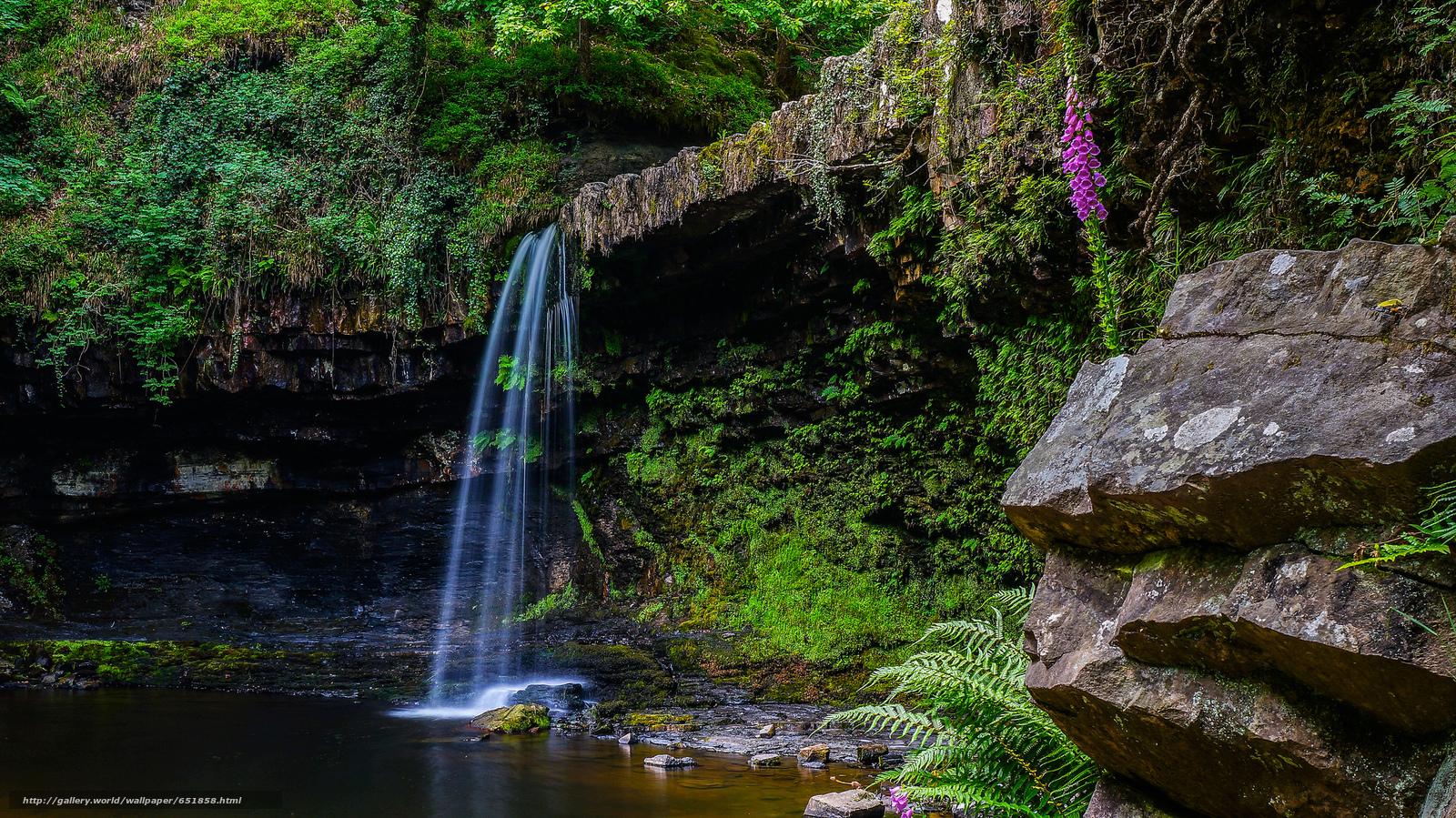 Download Hintergrund Wasserfall,  Rocks,  Fluss,  Wald Freie desktop Tapeten in der Auflosung 2048x1151 — bild №651858