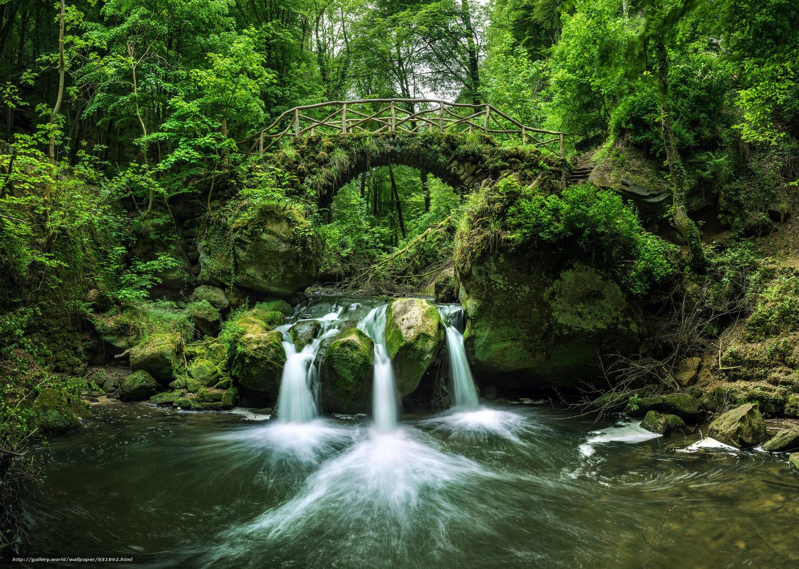 Download Hintergrund Fluss,  Wald,  Bäume,  Wasserfall Freie desktop Tapeten in der Auflosung 2048x1460 — bild №651892