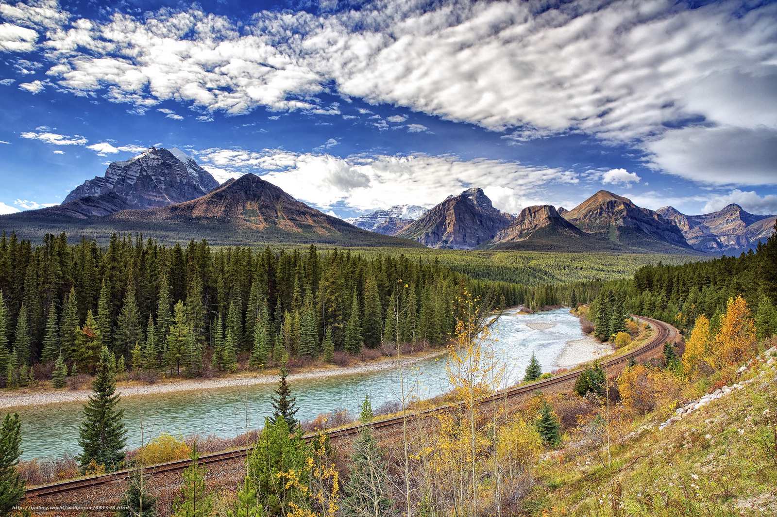 Download wallpaper Bow river,  Canada,  Mountains,  river free desktop wallpaper in the resolution 2048x1365 — picture №651948