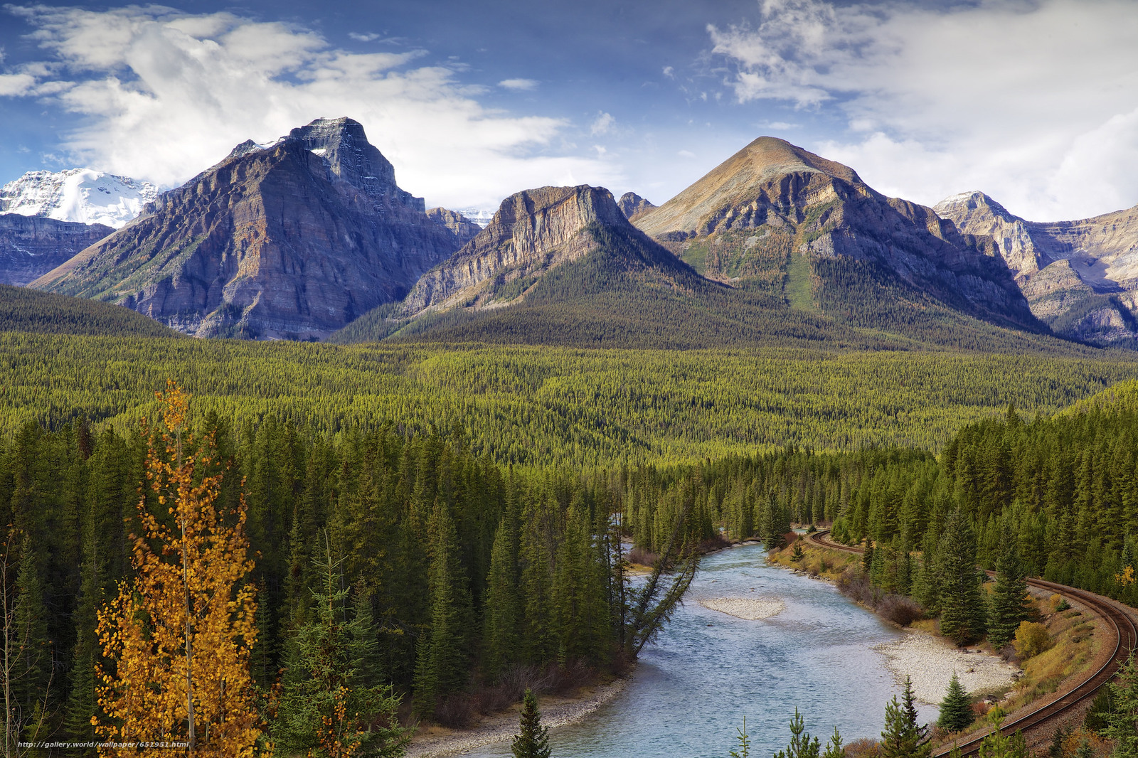 Download wallpaper Bow river,  Canada,  Mountains,  river free desktop wallpaper in the resolution 2048x1365 — picture №651951