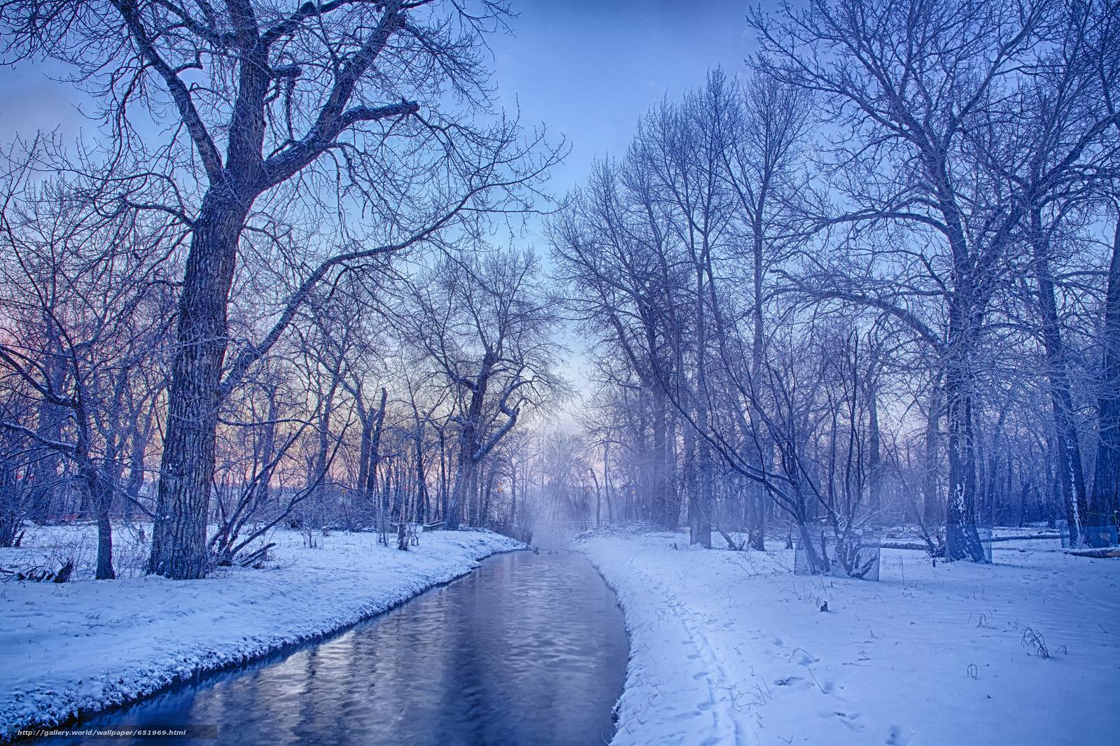 Скачать обои зима,  река,  деревья,  пейзаж бесплатно для рабочего стола в разрешении 2048x1365 — картинка №651969
