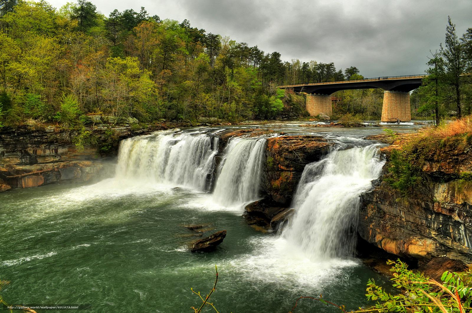 scaricare gli sfondi Little River Canyon National Preserve,  Poco River Falls,  fiume,  cascata Sfondi gratis per la risoluzione del desktop 2048x1360 — immagine №651973
