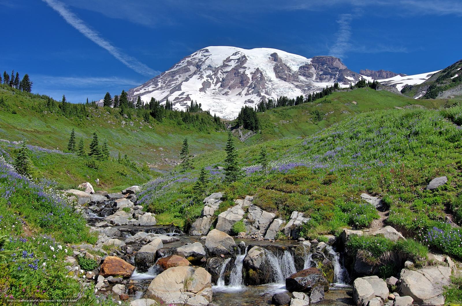 scaricare gli sfondi Mt. Rainier,  Montagne,  Colline,  cascata Sfondi gratis per la risoluzione del desktop 4920x3258 — immagine №652519