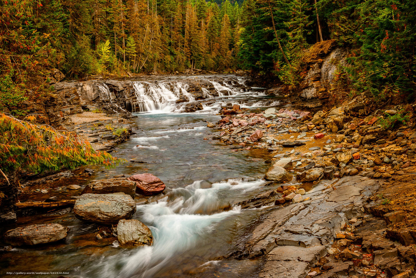 scaricare gli sfondi Parco nazionale Glacier,  Montana,  fiume,  cascata Sfondi gratis per la risoluzione del desktop 1920x1281 — immagine №652520