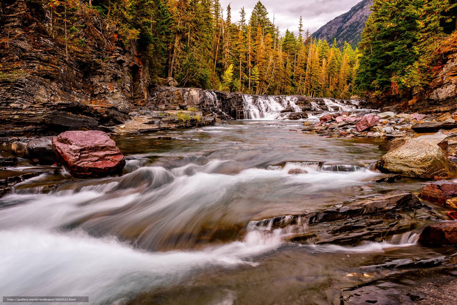 scaricare gli sfondi Parco nazionale Glacier,  Montana,  fiume,  cascata Sfondi gratis per la risoluzione del desktop 1920x1281 — immagine №652521