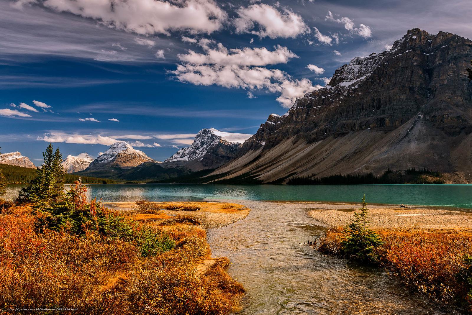 scaricare gli sfondi Bow Lake,  Parco Nazionale di Banff,  lago,  Montagne Sfondi gratis per la risoluzione del desktop 1920x1281 — immagine №652526