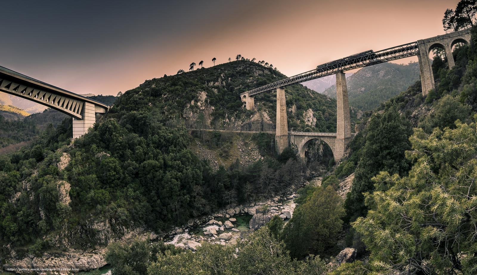 Скачать обои горы,  мост,  деревья бесплатно для рабочего стола в разрешении 2048x1183 — картинка №652614