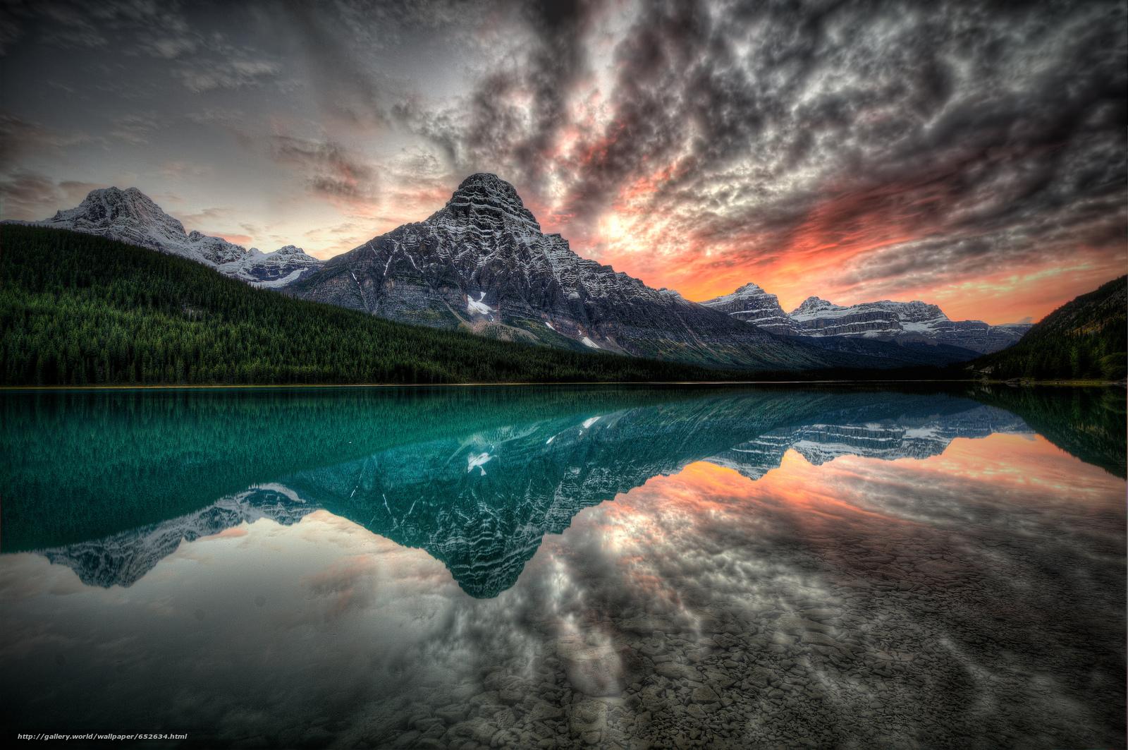 scaricare gli sfondi tramonto,  lago,  Montagne,  paesaggio Sfondi gratis per la risoluzione del desktop 2048x1360 — immagine №652634
