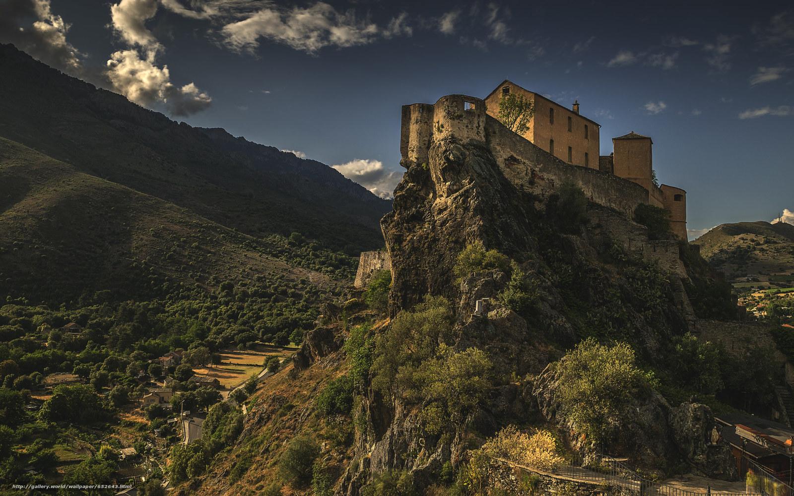 Скачать обои замок,  горы,  небо,  строение бесплатно для рабочего стола в разрешении 2048x1280 — картинка №652643