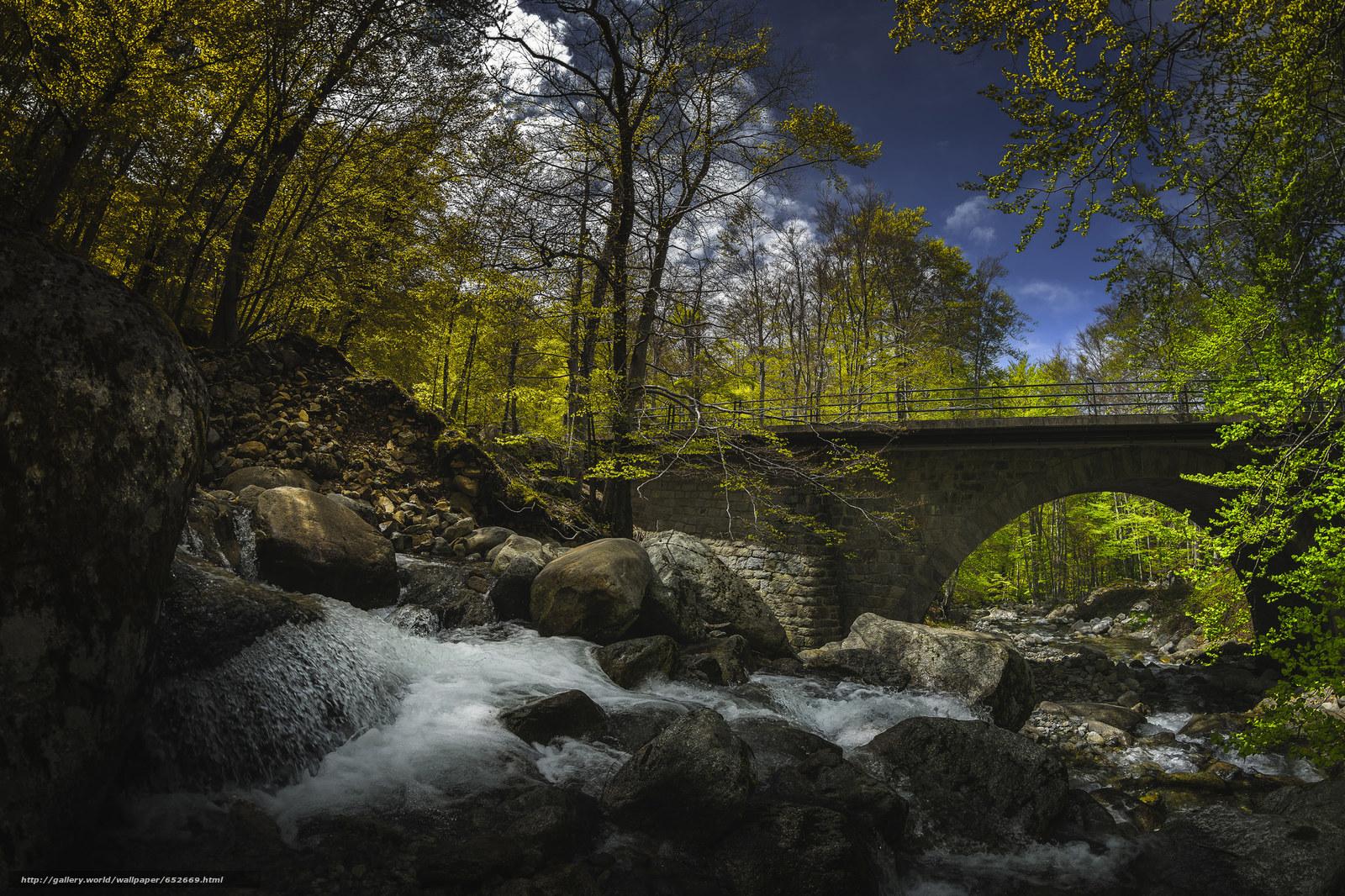 Скачать обои водопад,  деревья,  мост,  камни бесплатно для рабочего стола в разрешении 2048x1365 — картинка №652669