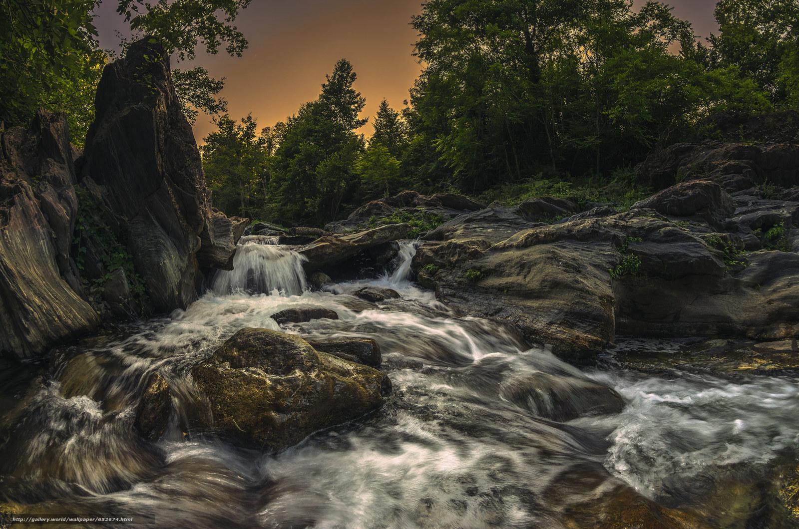 Скачать обои водопад,  речка,  камни,  деревья бесплатно для рабочего стола в разрешении 2048x1357 — картинка №652674