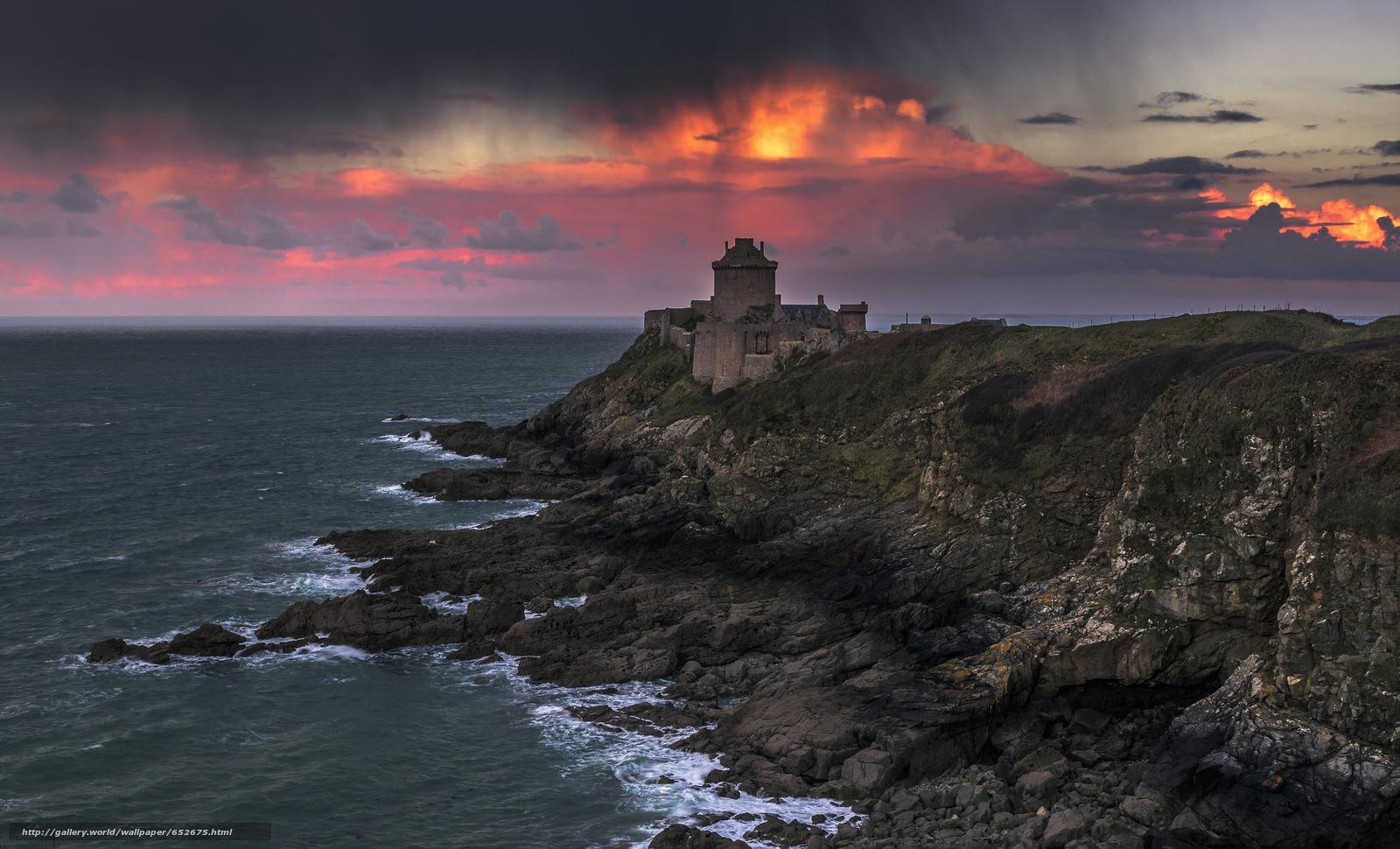 Скачать обои море,  замок,  закат,  берег бесплатно для рабочего стола в разрешении 2048x1242 — картинка №652675