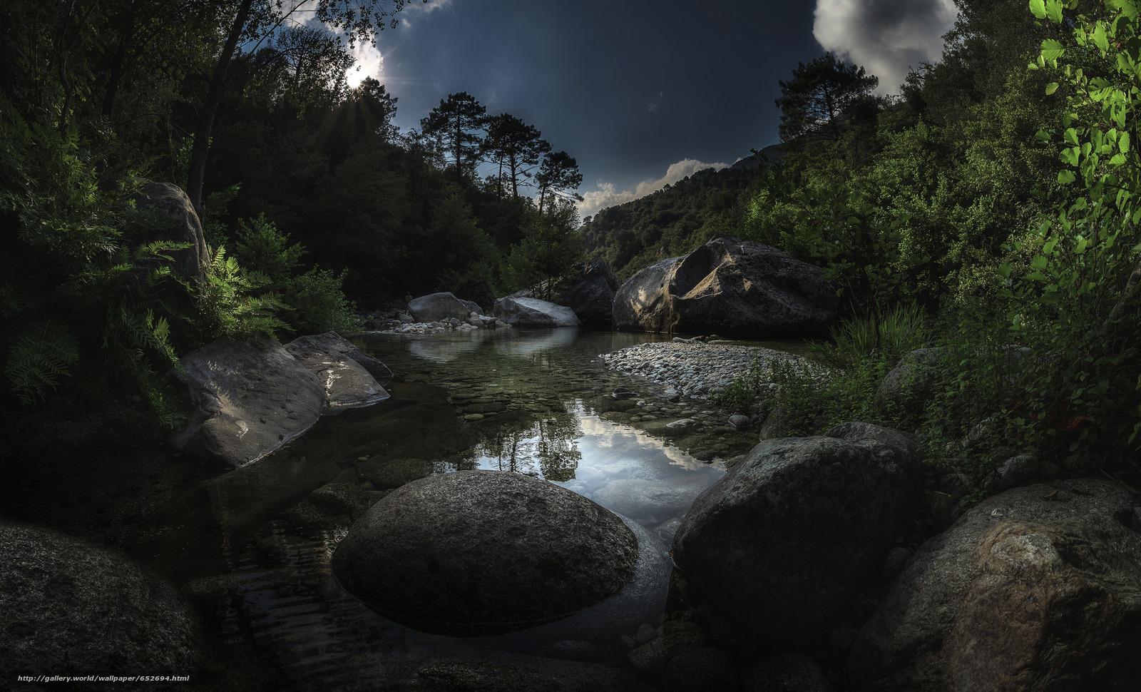 Скачать обои водоем,  камни,  небо бесплатно для рабочего стола в разрешении 2048x1241 — картинка №652694