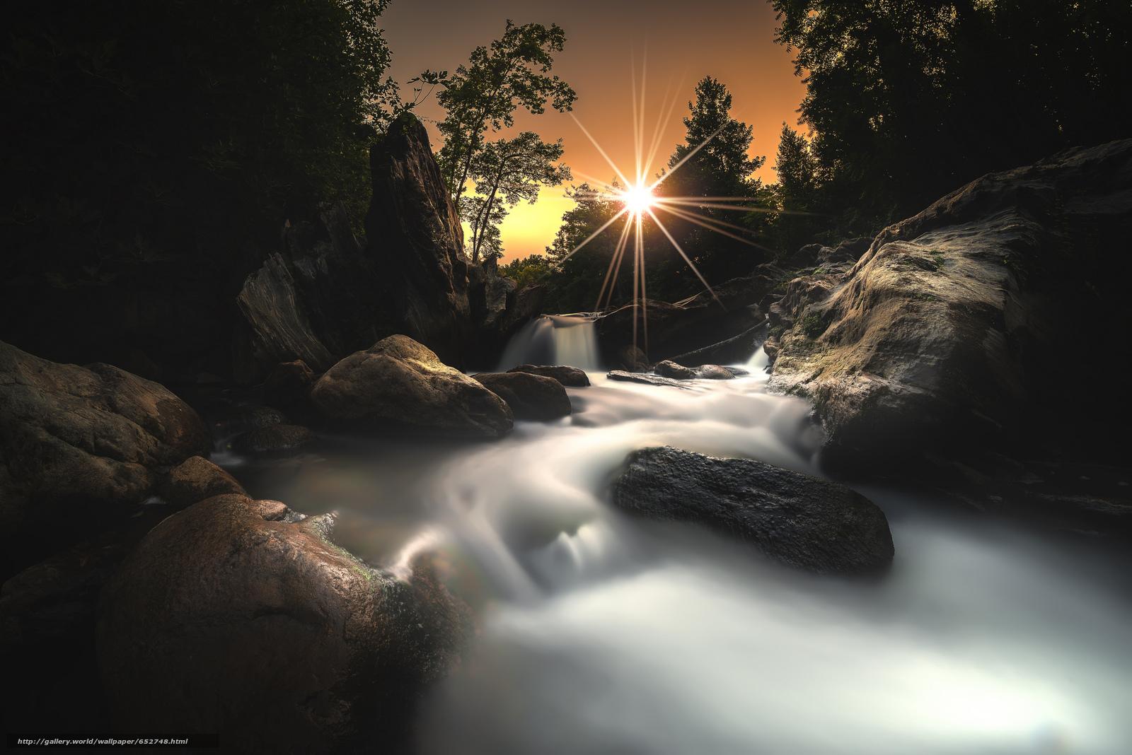 Скачать обои водопад,  солнце,  камни бесплатно для рабочего стола в разрешении 2048x1367 — картинка №652748