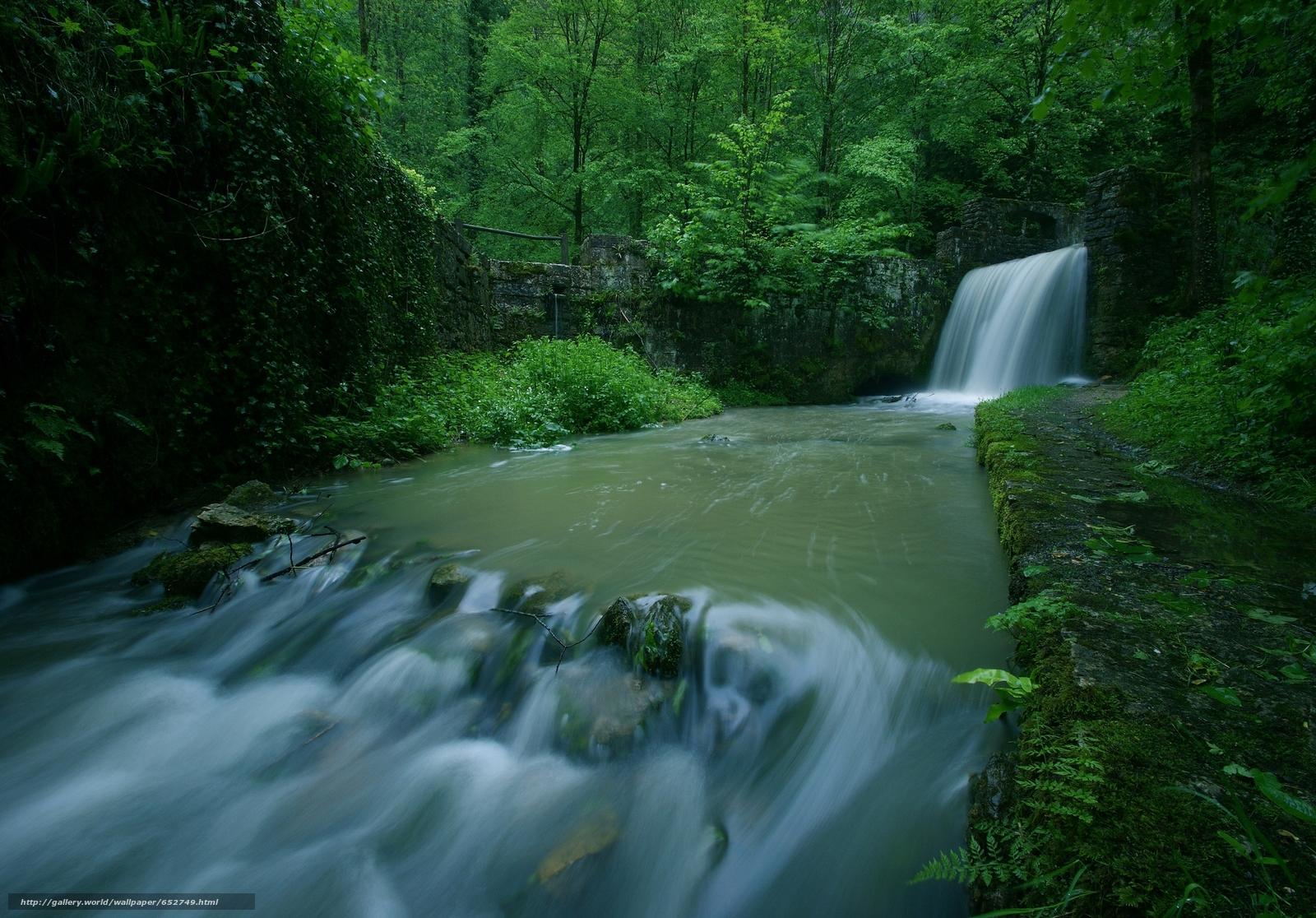 Скачать обои лес,  деревья,  река,  водопад бесплатно для рабочего стола в разрешении 2048x1428 — картинка №652749
