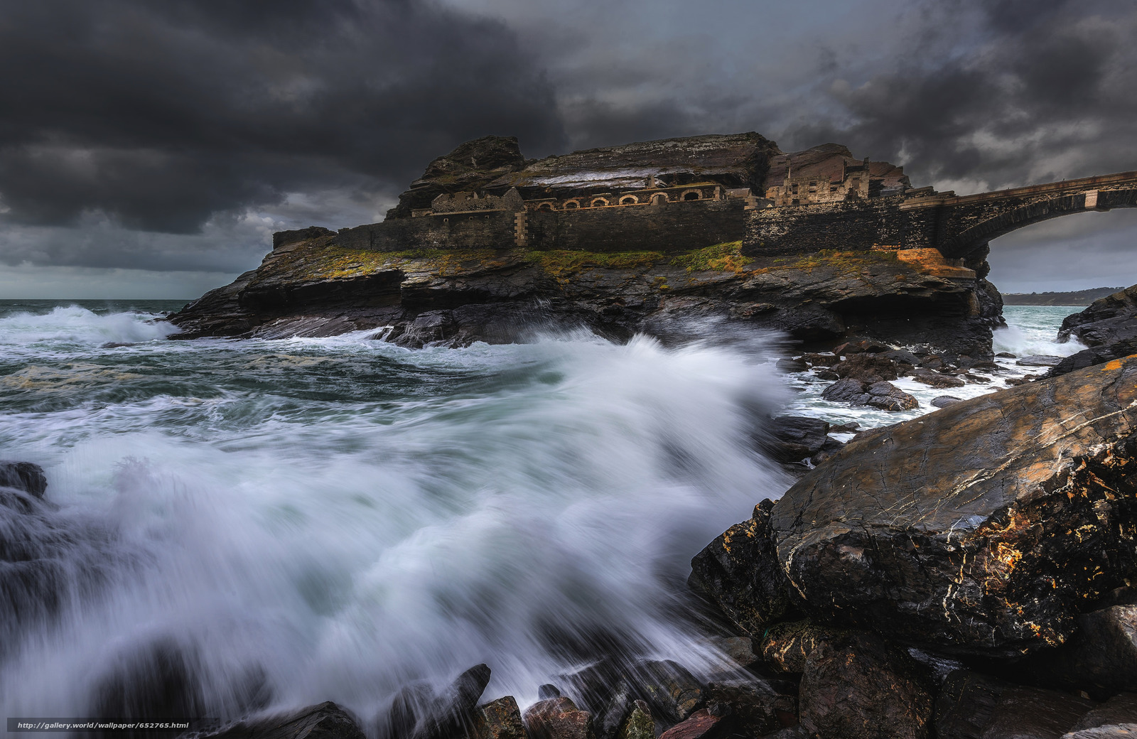 Descargar gratis mar,  Rocas,  ondas,  tormenta Fondos de escritorio en la resolucin 2048x1331 — imagen №652765