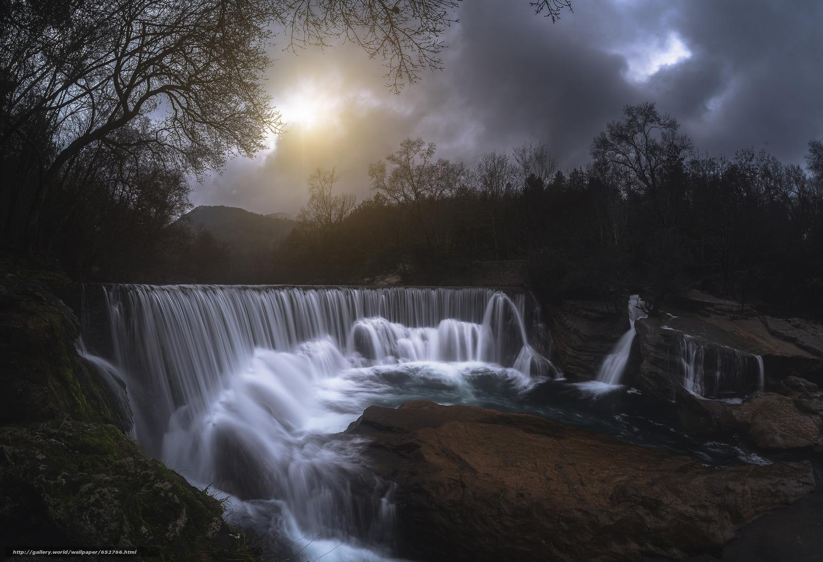 scaricare gli sfondi cascata,  sole,  cielo,  pietre Sfondi gratis per la risoluzione del desktop 2048x1399 — immagine №652766
