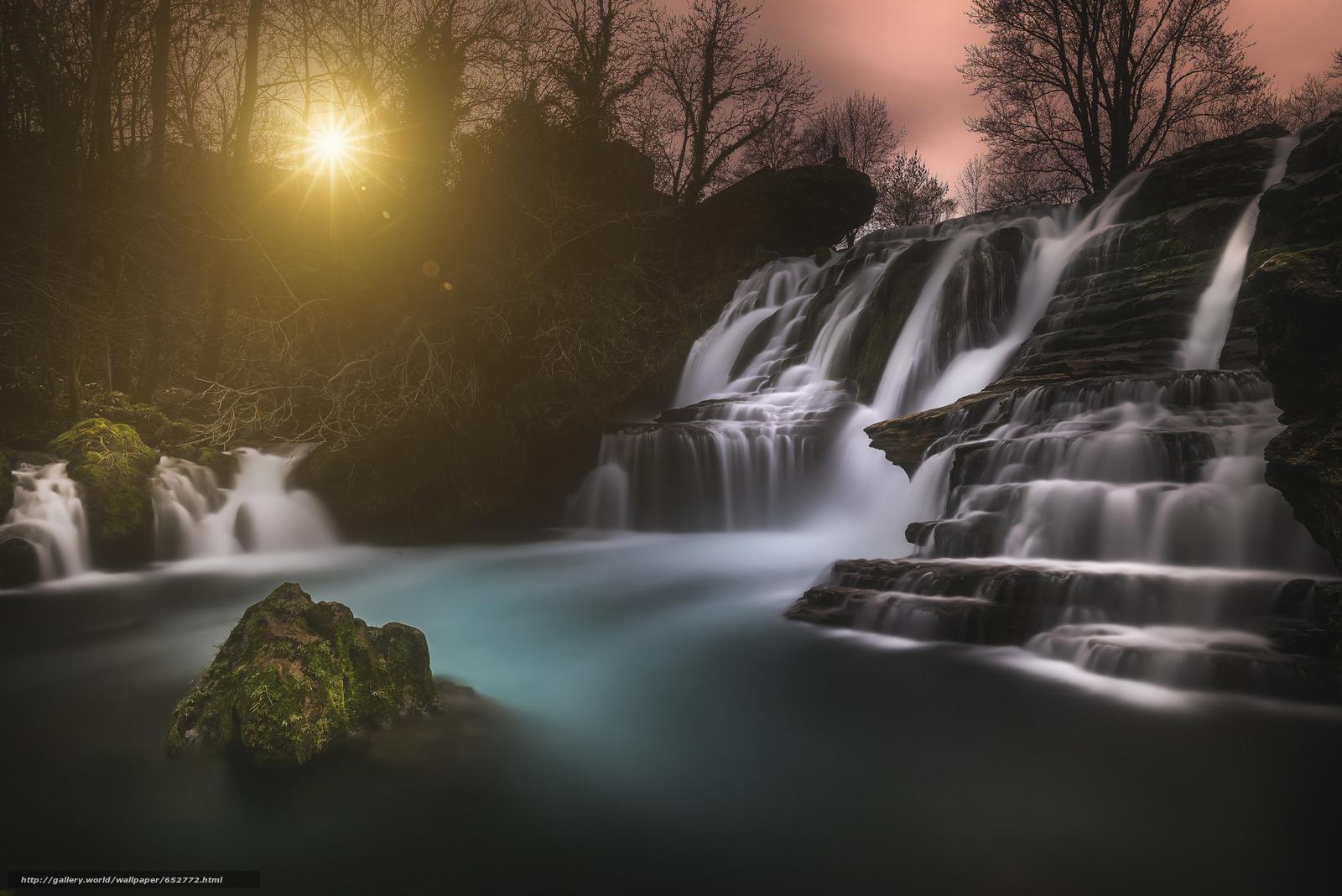scaricare gli sfondi cascata,  sole,  Rocce Sfondi gratis per la risoluzione del desktop 2048x1367 — immagine №652772