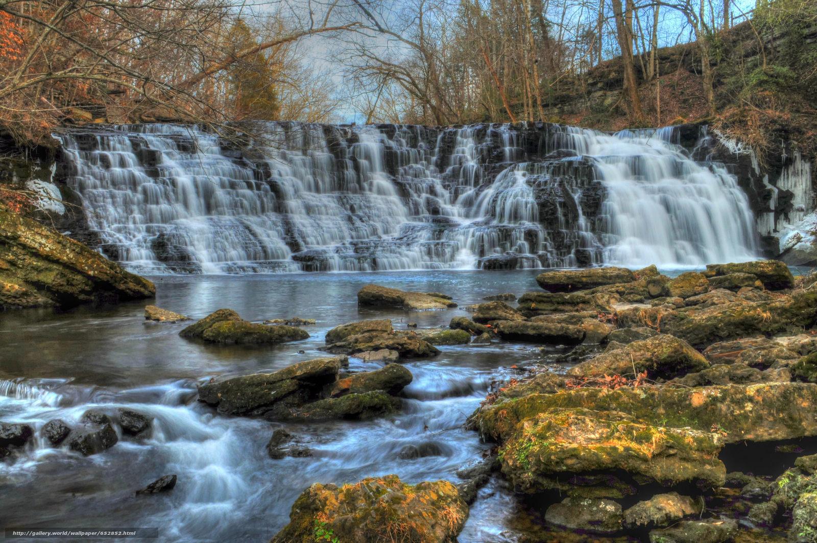 Download Hintergrund Wasserfall,  Rocks,  Fluss,  Bäume Freie desktop Tapeten in der Auflosung 2048x1360 — bild №652852