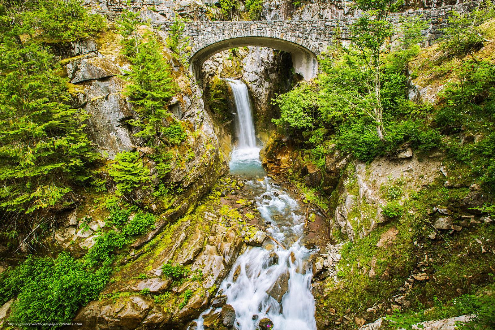 Скачать обои речка,  мост,  деревья,  водопад бесплатно для рабочего стола в разрешении 2048x1365 — картинка №652864