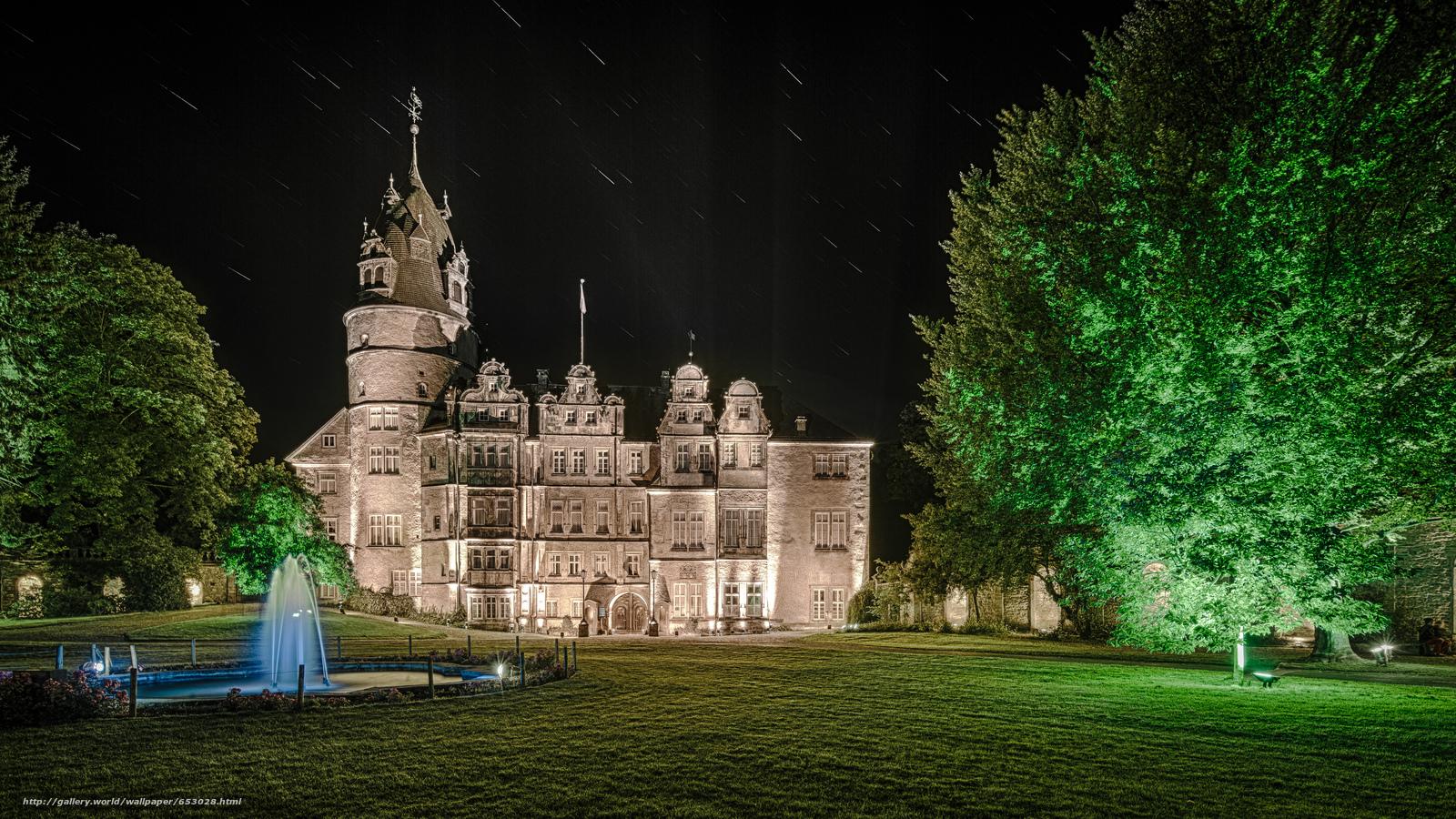Скачать обои Замок Детмольд,  Германия,  ночь бесплатно для рабочего стола в разрешении 5760x3240 — картинка №653028