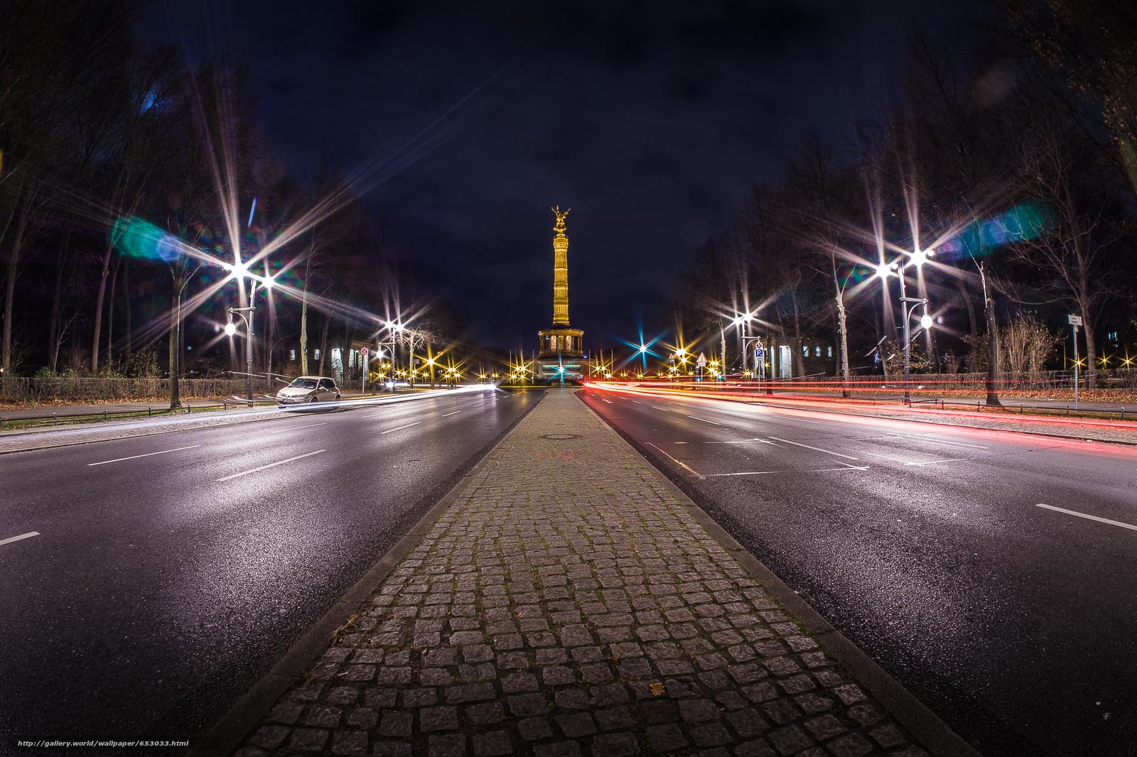 scaricare gli sfondi Tiergarten,  Berlino,  stradale,  notte Sfondi gratis per la risoluzione del desktop 2000x1333 — immagine №653033