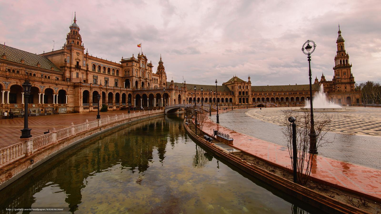 Скачать обои Площадь Севилья,  Испании,  город бесплатно для рабочего стола в разрешении 2048x1152 — картинка №653038