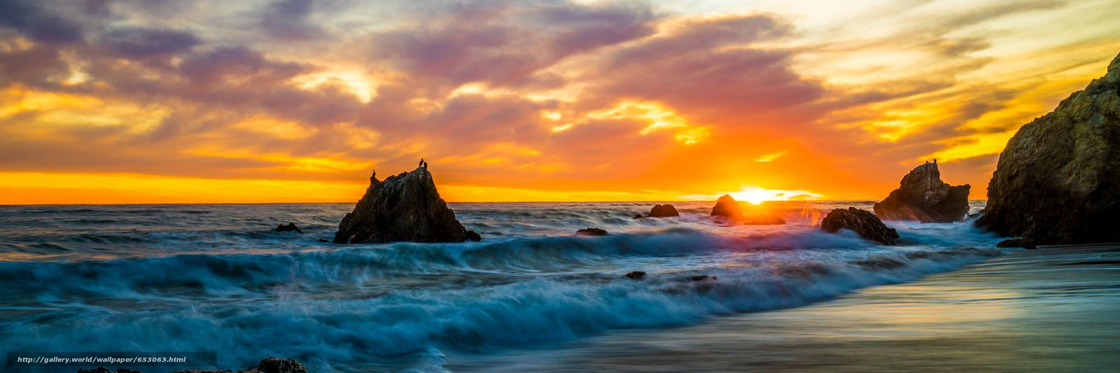Скачать обои Malibu,  закат,  море,  волны бесплатно для рабочего стола в разрешении 7868x2623 — картинка №653063