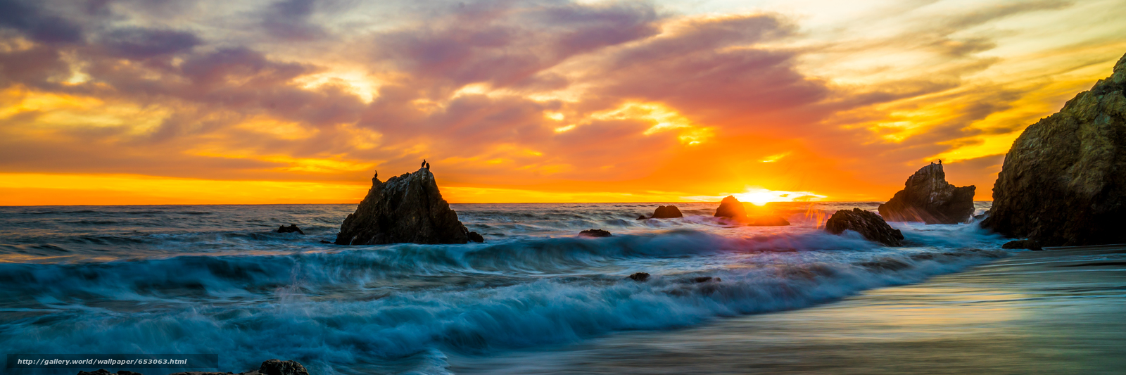 Download wallpaper Malibu,  sunset,  sea,  waves free desktop wallpaper in the resolution 7868x2623 — picture №653063