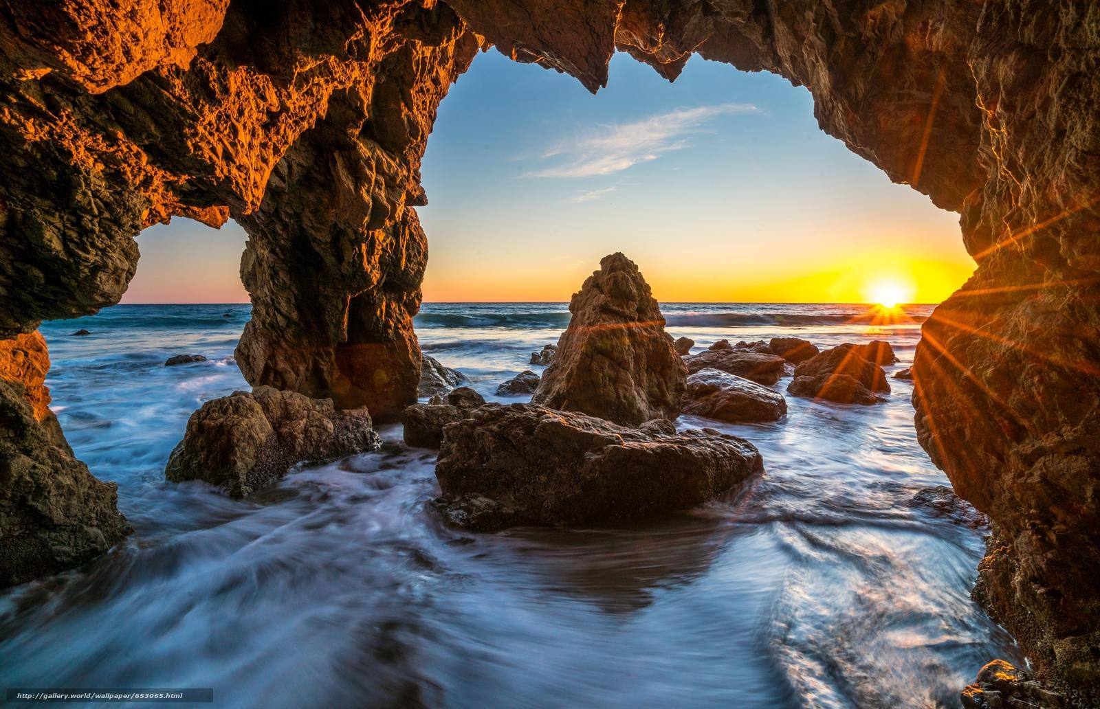 Скачать обои Malibu,  закат,  море,  волны бесплатно для рабочего стола в разрешении 7777x5016 — картинка №653065