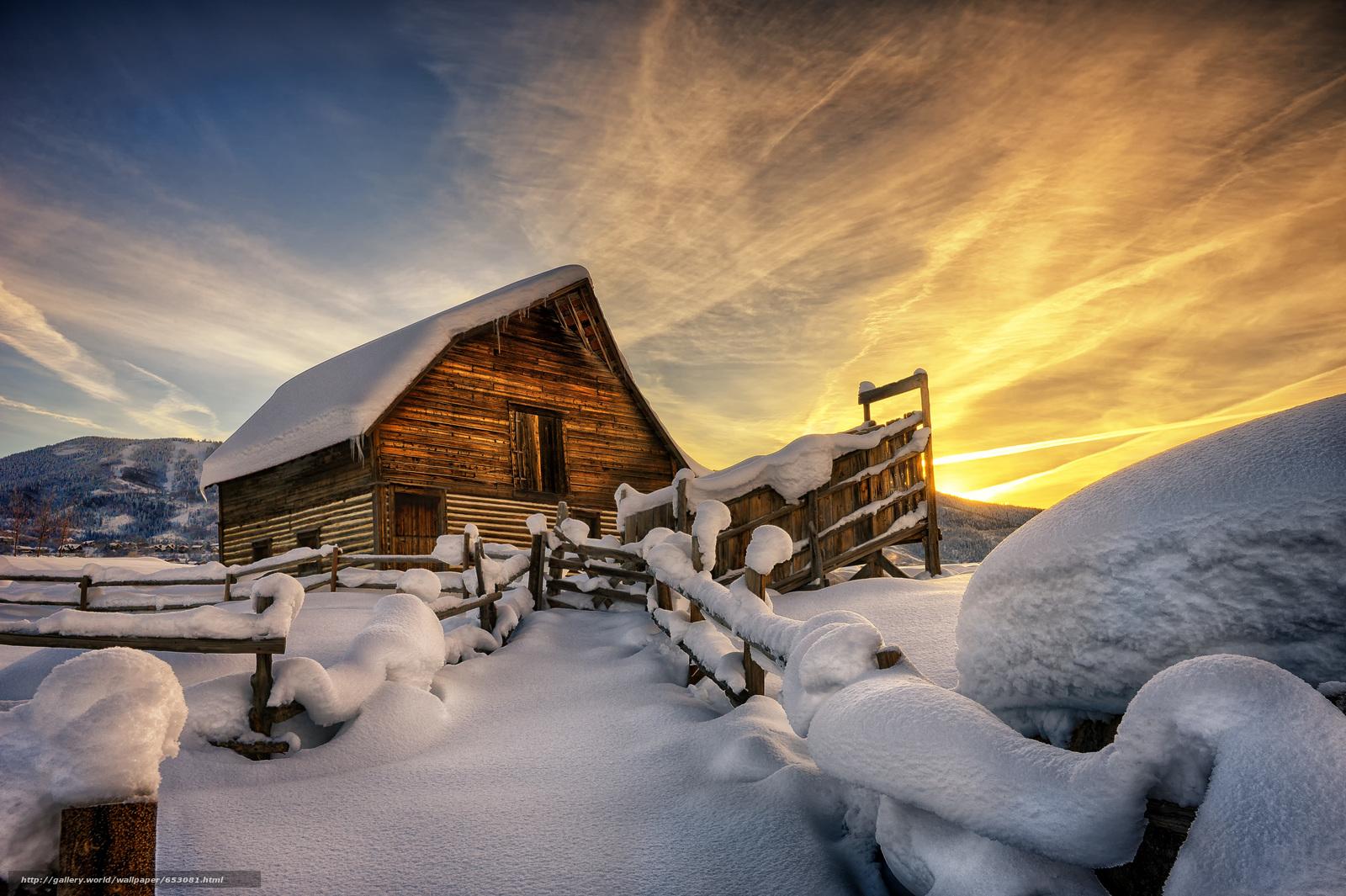 Скачать обои закат,  зима,  забор,  дом бесплатно для рабочего стола в разрешении 5996x3991 — картинка №653081