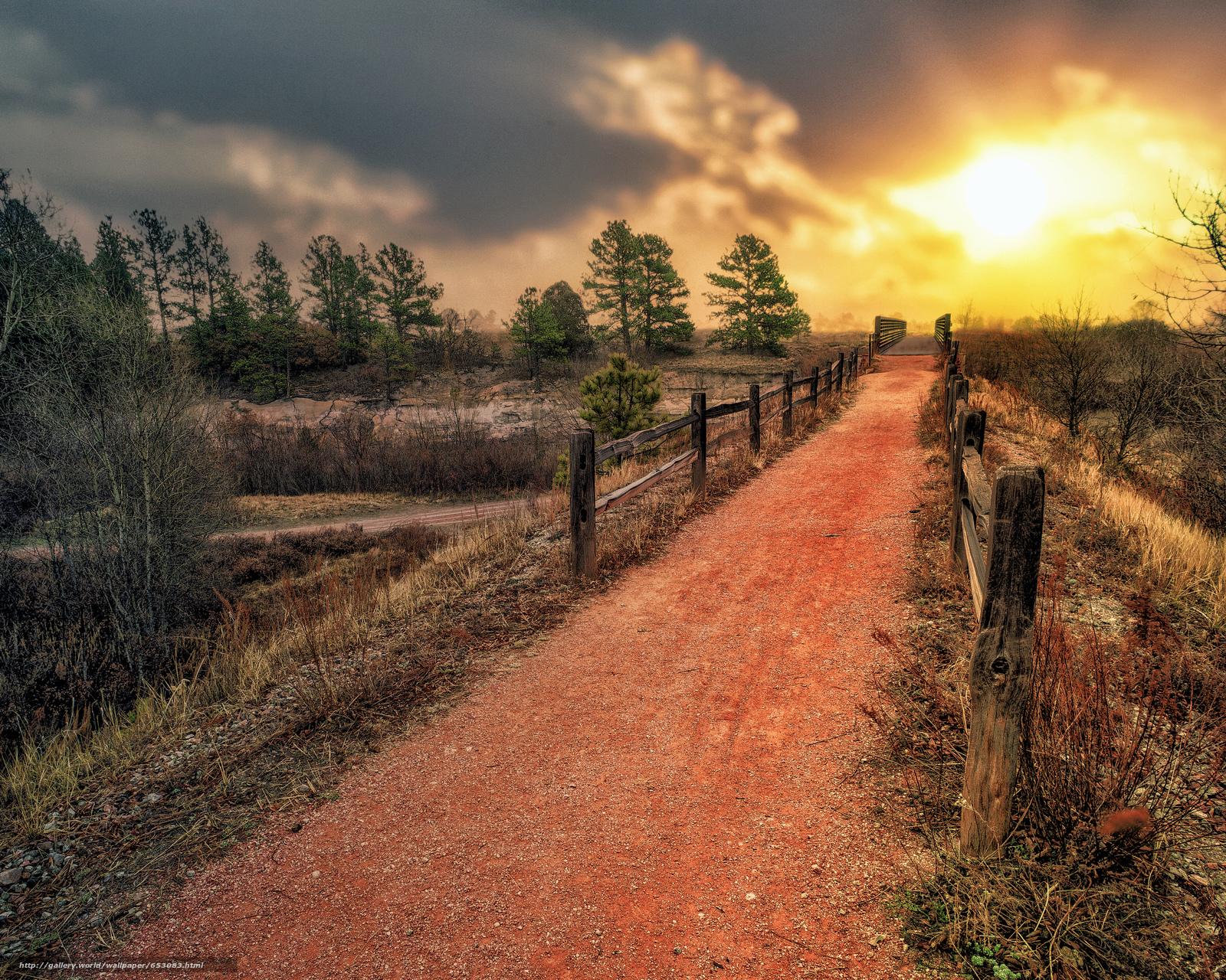 Скачать обои закат,  дорога,  деревья,  забор бесплатно для рабочего стола в разрешении 4914x3931 — картинка №653083