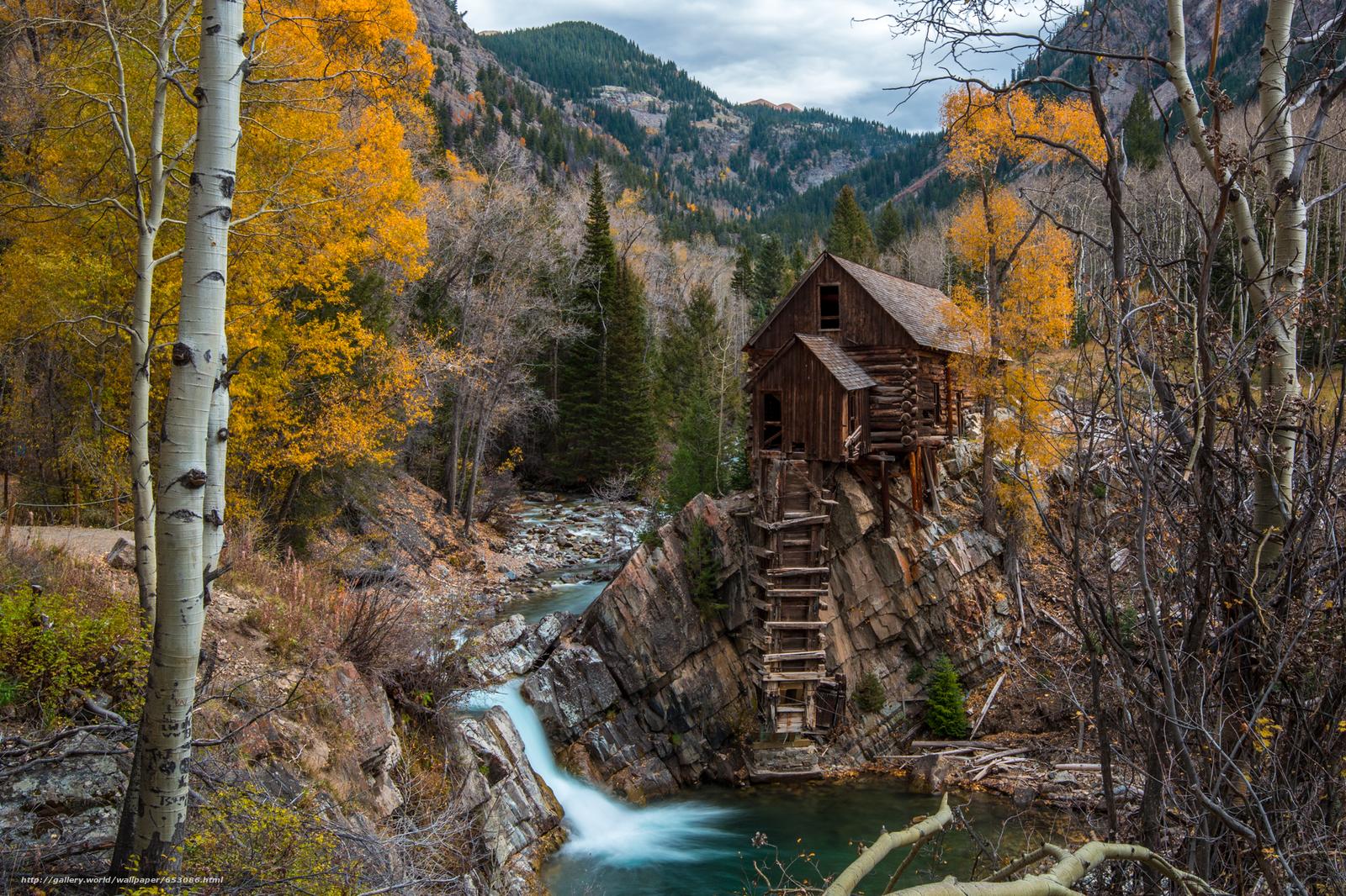 Download Hintergrund Kristall-Mühle,  Colorado,  Bäume,  Fluss Freie desktop Tapeten in der Auflosung 2048x1365 — bild №653086