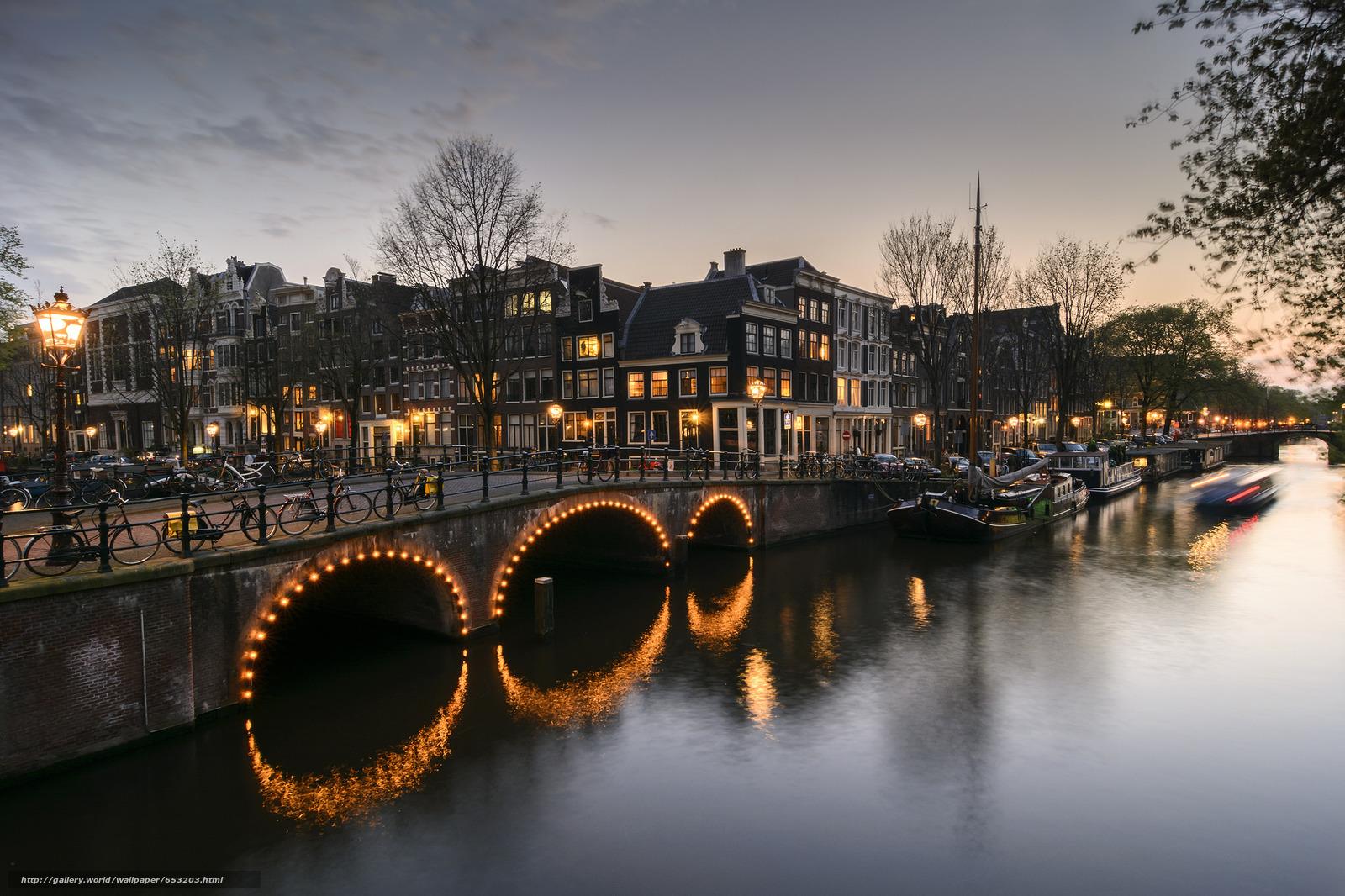 Скачать обои Amsterdam,  Амстердам,  столица и крупнейший город Нидерландов,  Нидерланды бесплатно для рабочего стола в разрешении 2048x1365 — картинка №653203