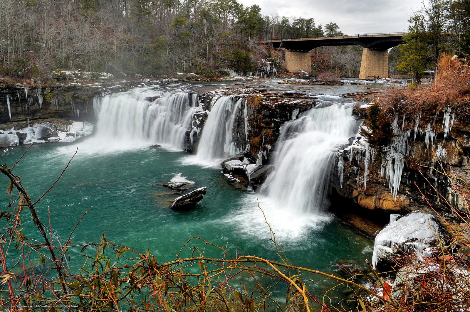 Download wallpaper river,  waterfall,  bridge,  trees free desktop wallpaper in the resolution 2048x1361 — picture №653376