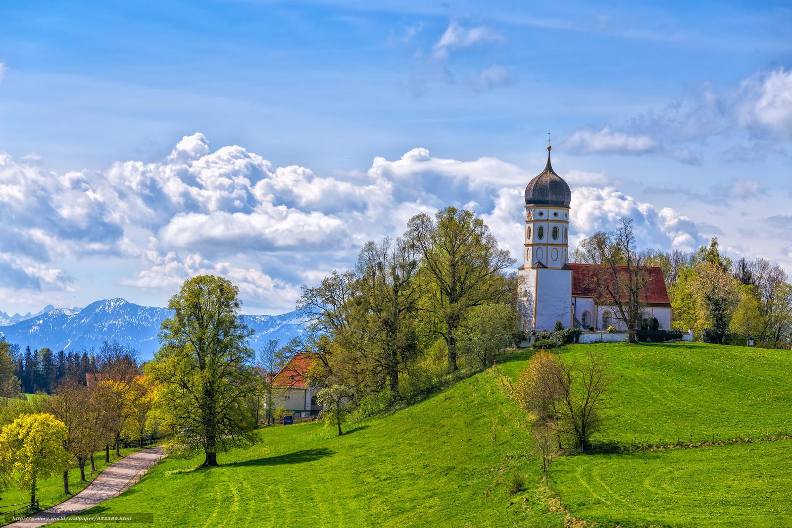 Descargar gratis Alemania,  Bayern,  Hills,  iglesia Fondos de escritorio en la resolucin 2048x1365 — imagen №653380