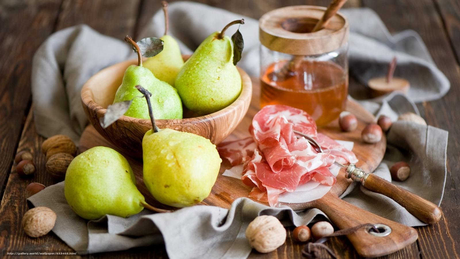 Скачать обои груши,  мясо,  посуда,  фрукты бесплатно для рабочего стола в разрешении 1920x1080 — картинка №653405