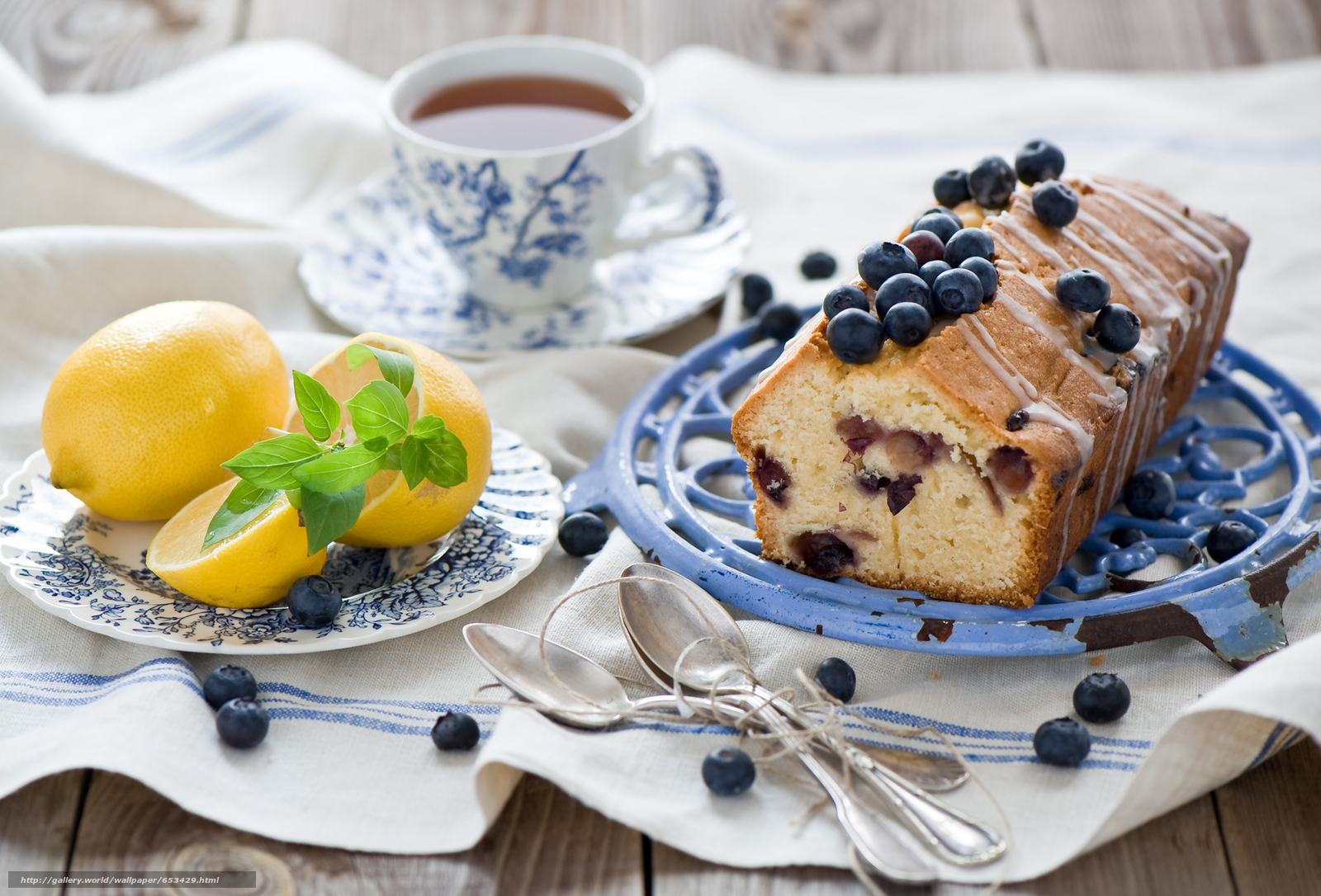 Download wallpaper pie,  Lemon,  tea,  BERRY free desktop wallpaper in the resolution 2000x1358 — picture №653429