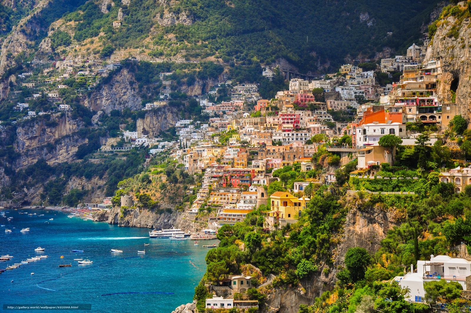 scaricare gli sfondi Positano,  campania,  Italia,  Costiera Amalfitana Sfondi gratis per la risoluzione del desktop 4288x2848 — immagine №653598