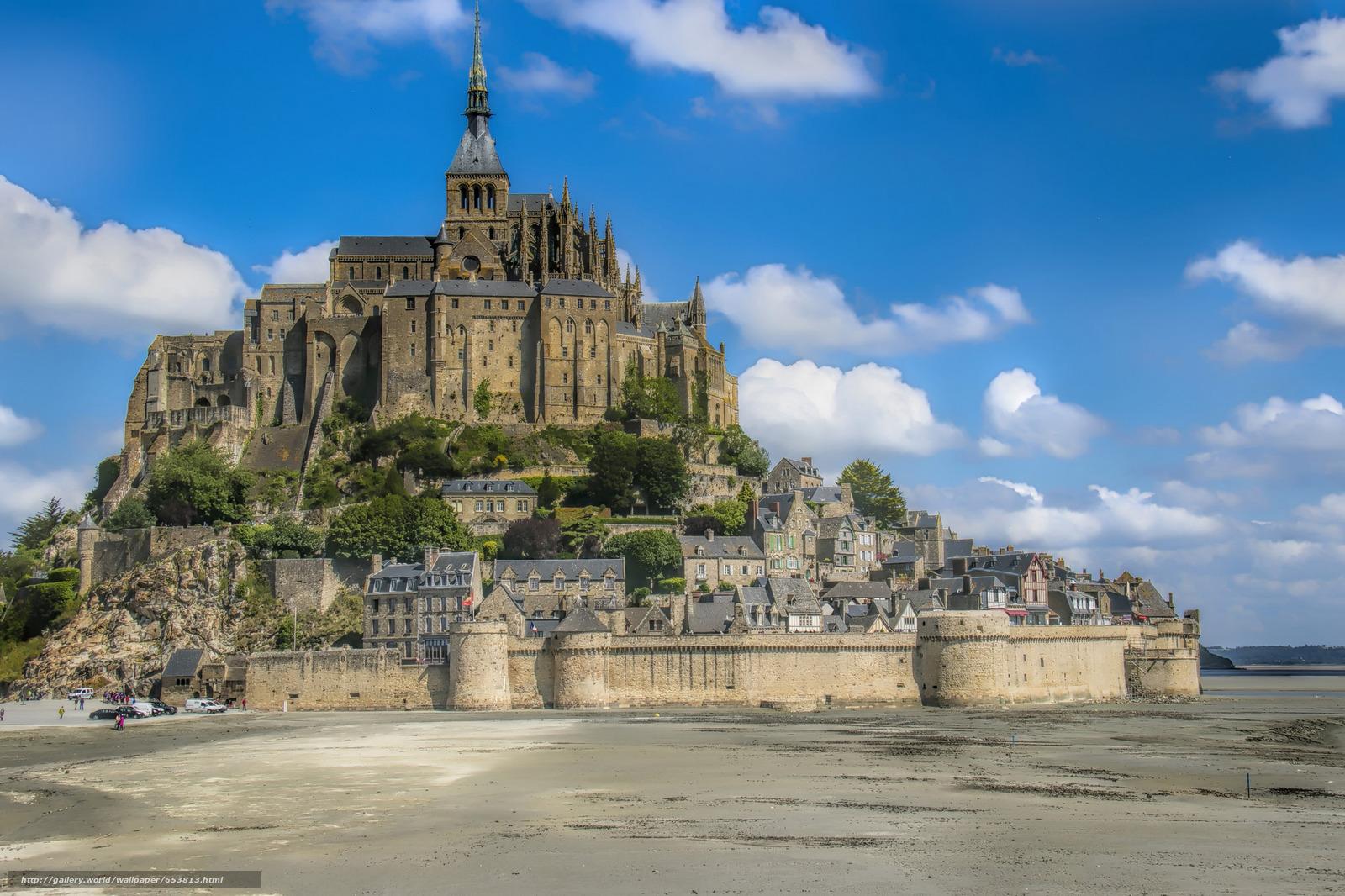 Скачать обои Mont Saint-Michel,  Мон-Сен-Мишель,  Франция бесплатно для рабочего стола в разрешении 2048x1365 — картинка №653813