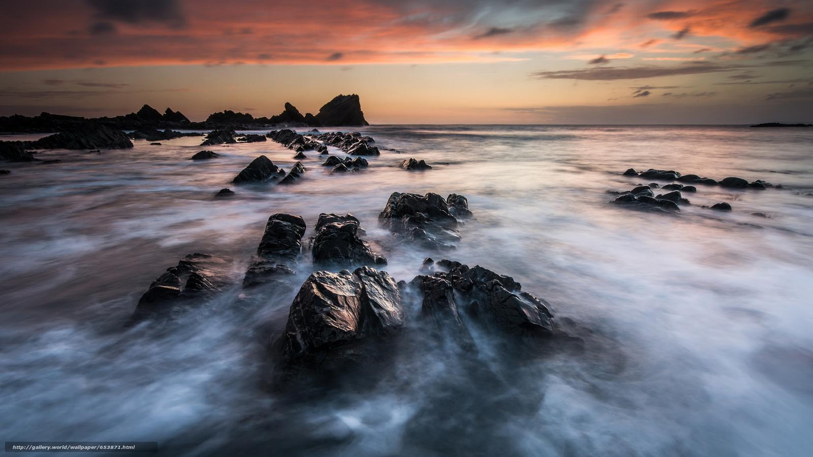 Скачать обои море,  океан,  водоем,  камни бесплатно для рабочего стола в разрешении 2048x1152 — картинка №653871