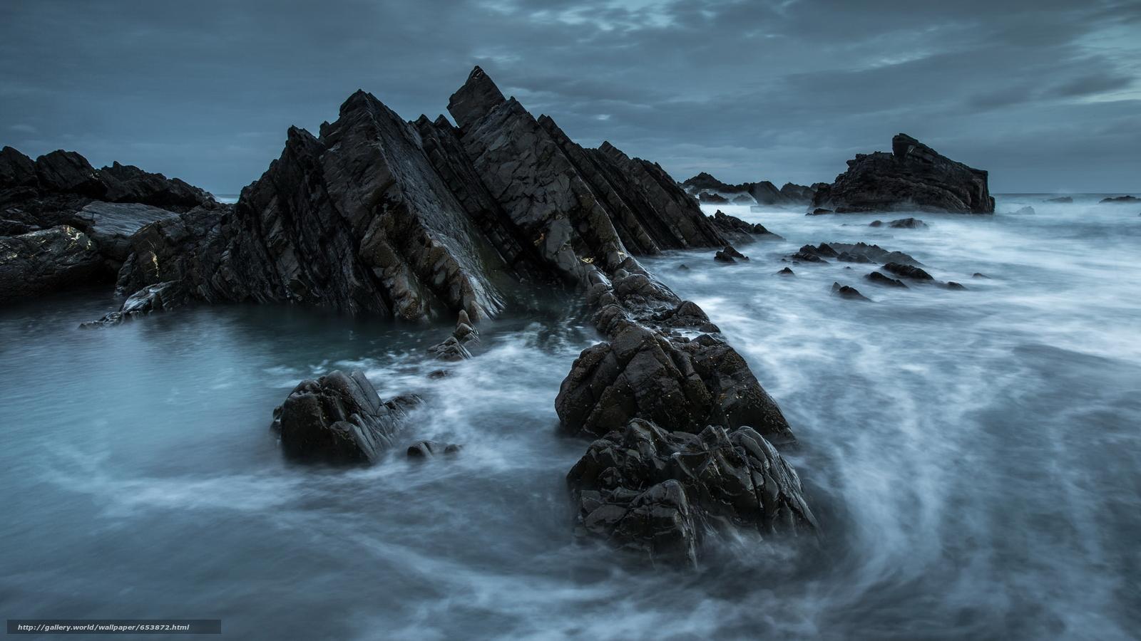 Скачать обои море,  океан,  водоем,  камни бесплатно для рабочего стола в разрешении 2048x1152 — картинка №653872