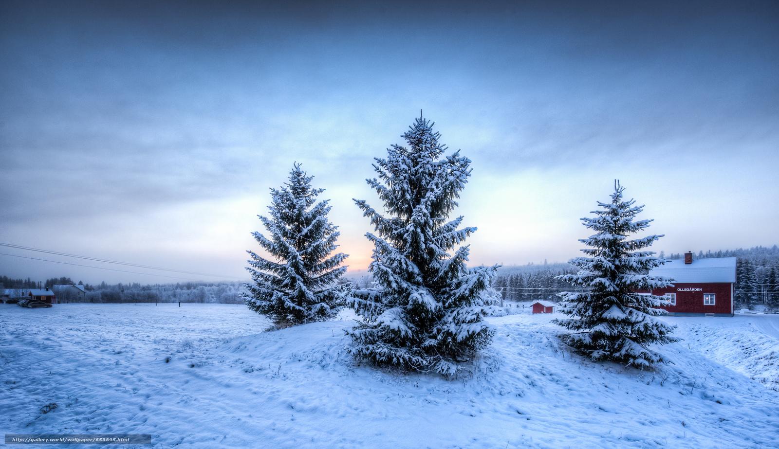 Скачать обои зима,  деревья,  домик,  пейзаж бесплатно для рабочего стола в разрешении 2048x1182 — картинка №653895