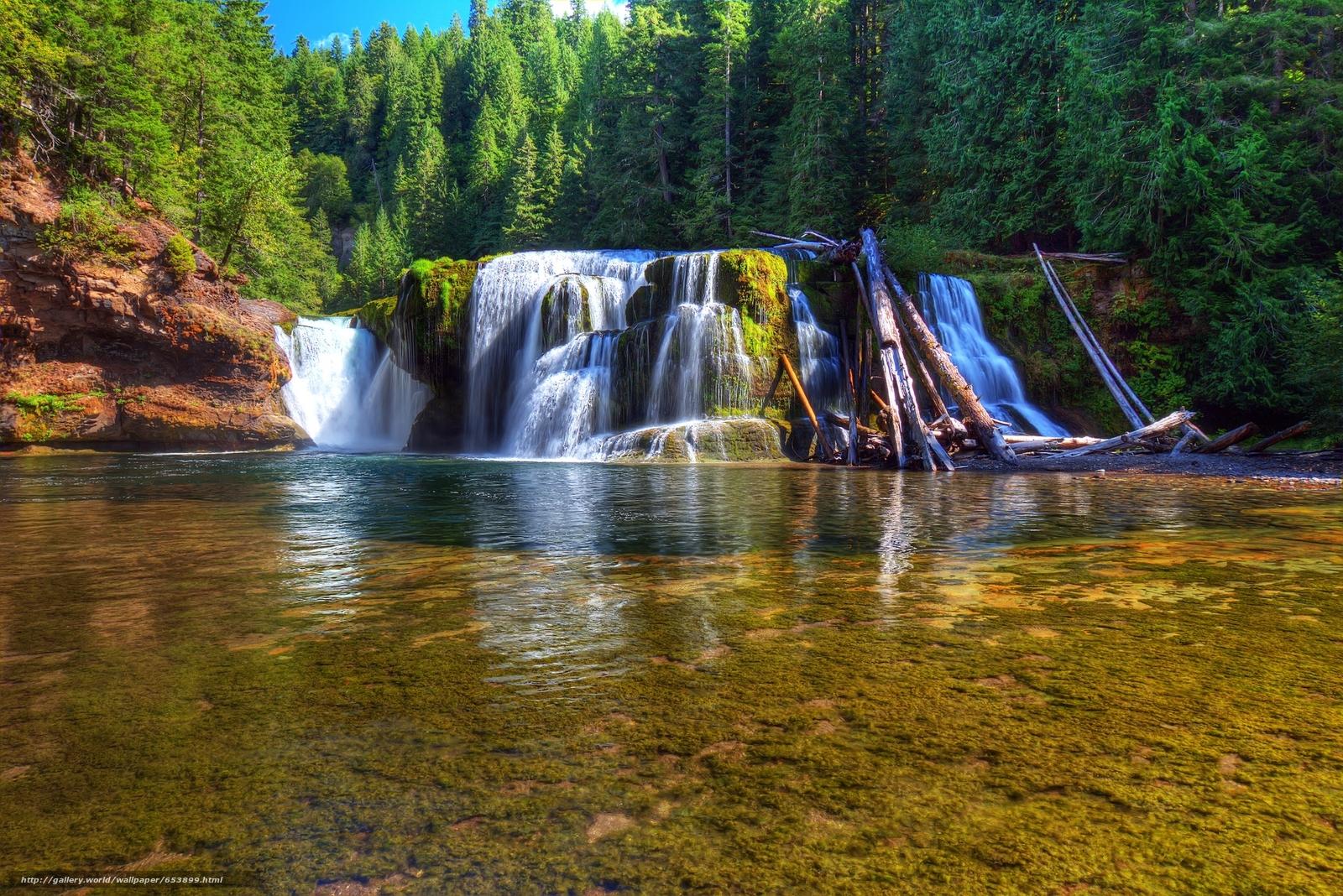 Скачать обои Lower Lewis River Falls,  Lewis River,  Washington,  река бесплатно для рабочего стола в разрешении 2048x1367 — картинка №653899